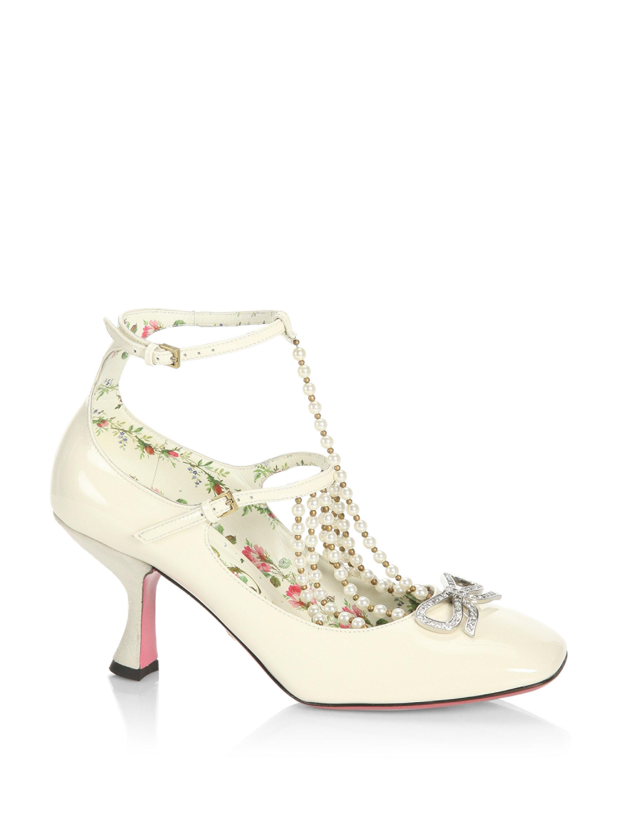 5e9c31ff0dd Lyst - Gucci Taide Pearl-embellished Patent Leather Mary Jane Pumps ...
