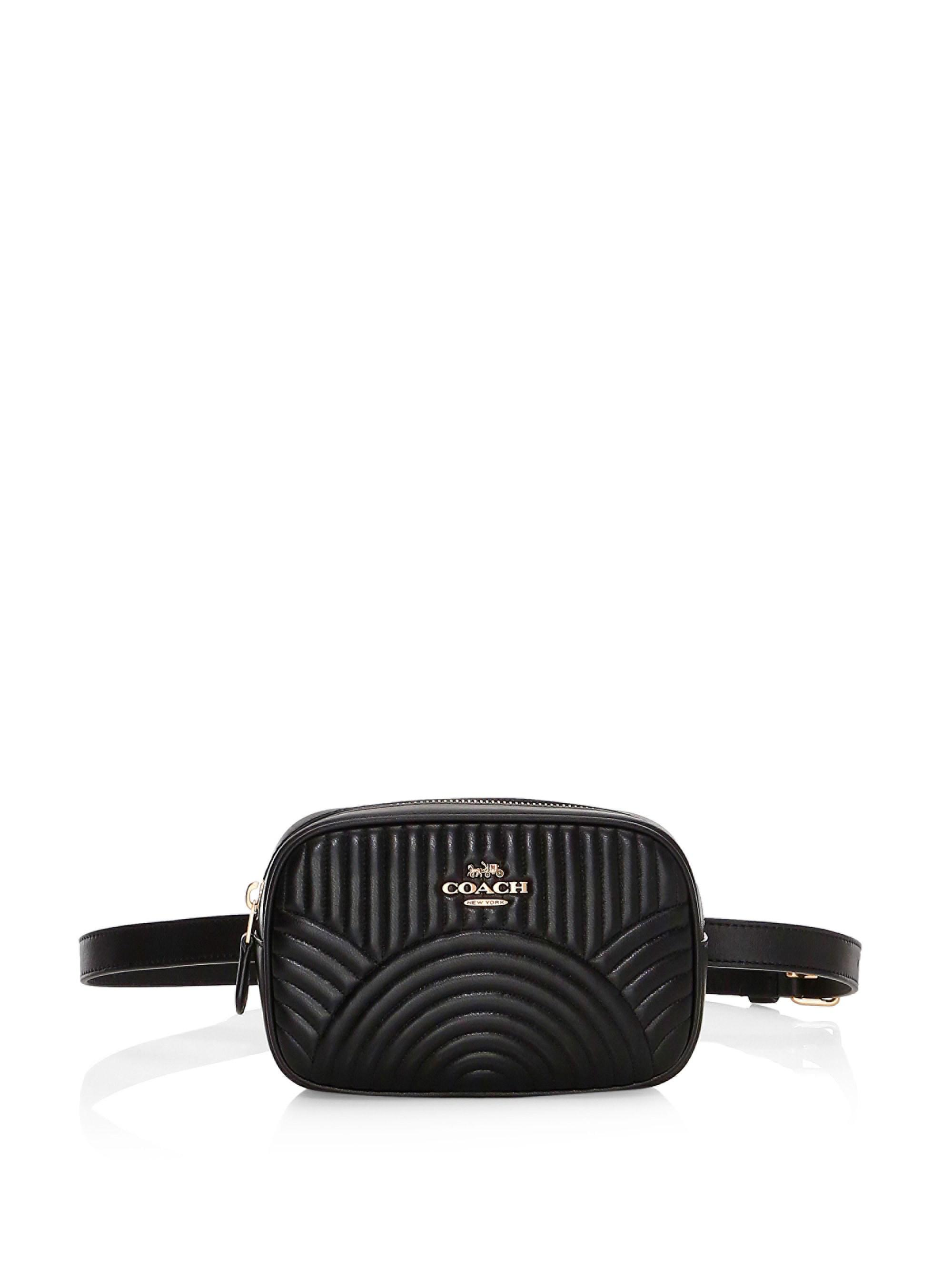 740e25821b91 COACH - Black Deco Quilted Dorsay Leather Belt Bag - Lyst. View fullscreen