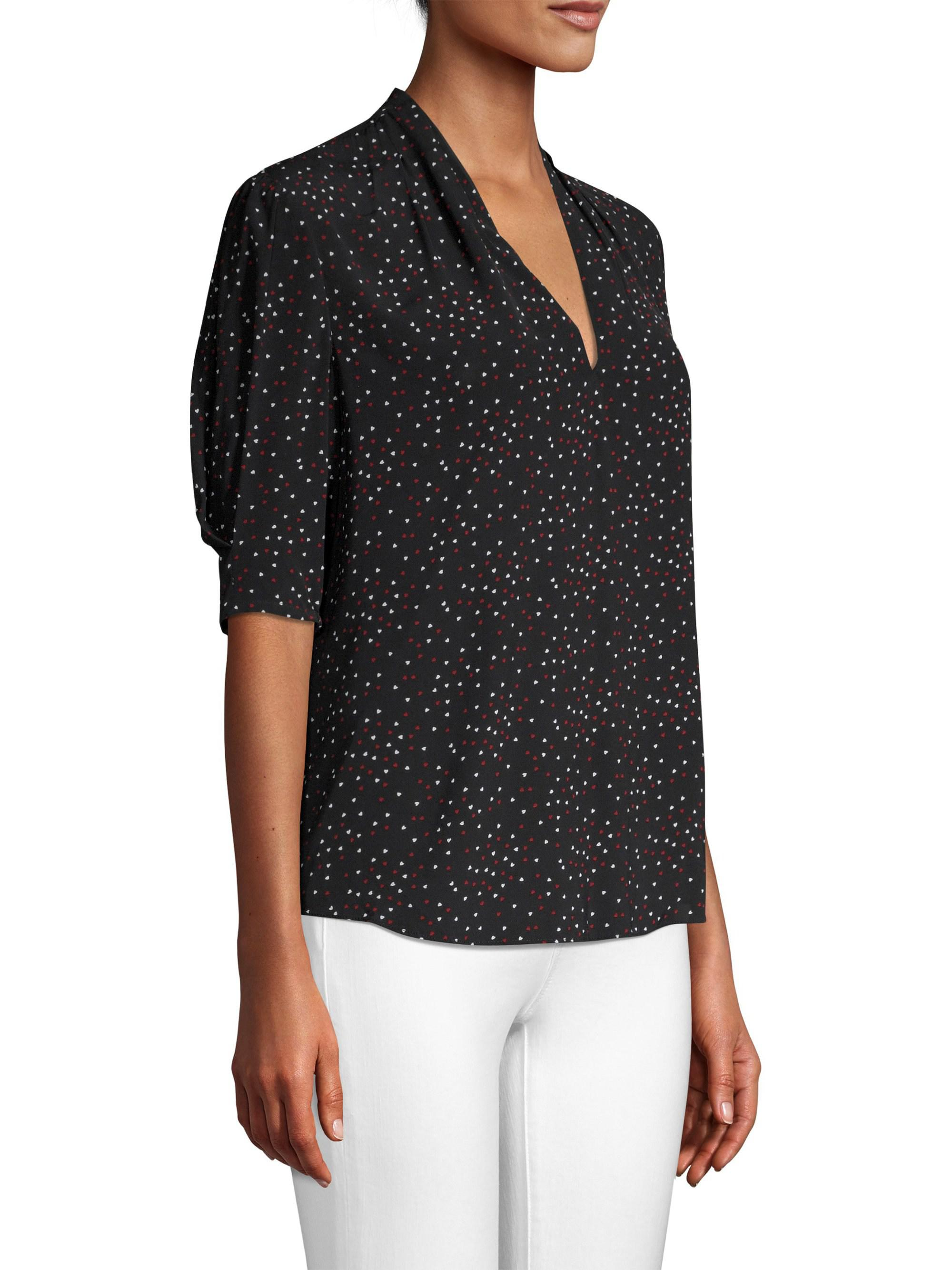 6b1d34a1b639f Joie Ance V-neck Printed Blouse in Black - Lyst