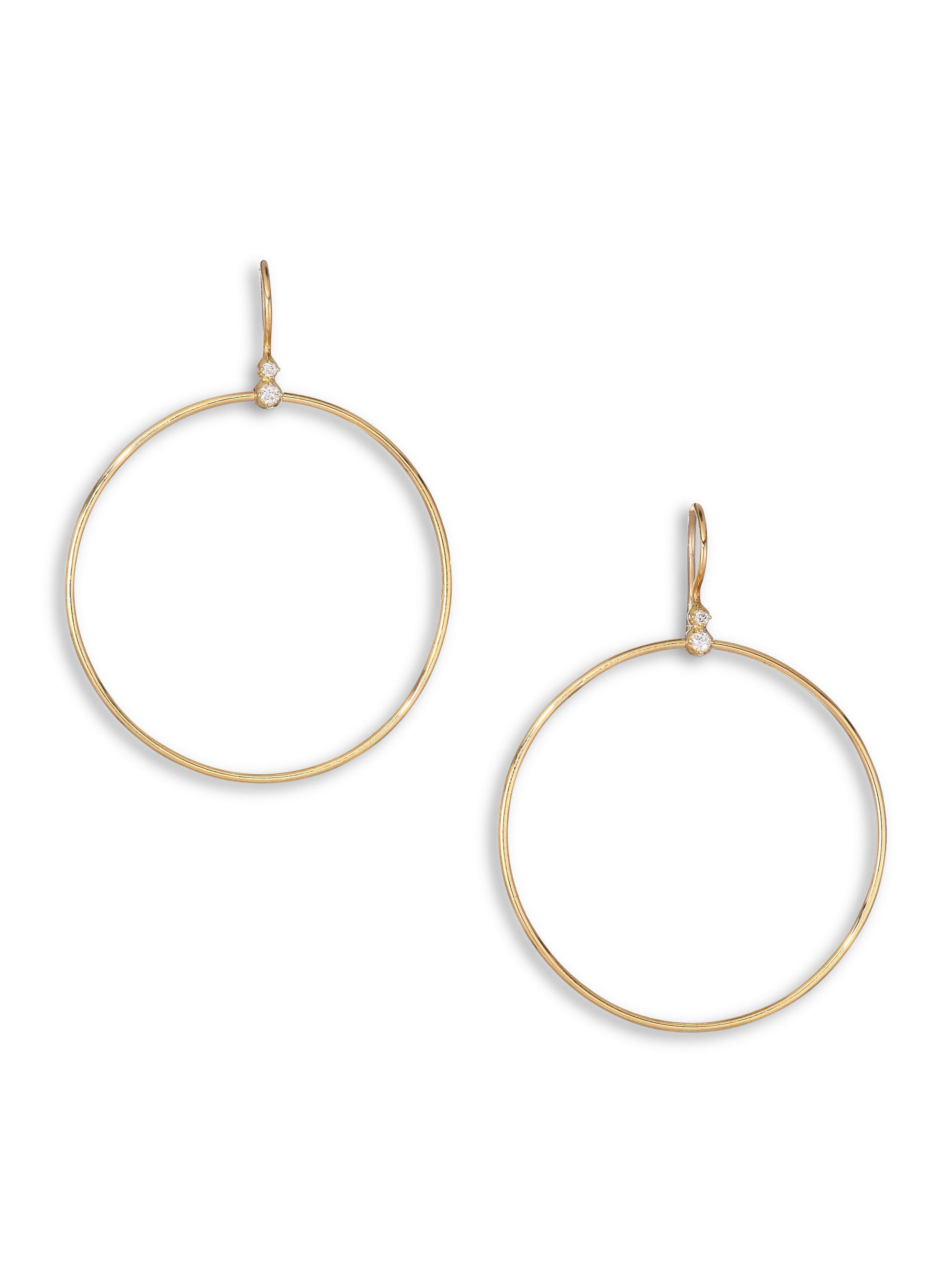 Mizuki Women S Metallic Diamond 14k Yellow Gold Drop Hoop Earrings
