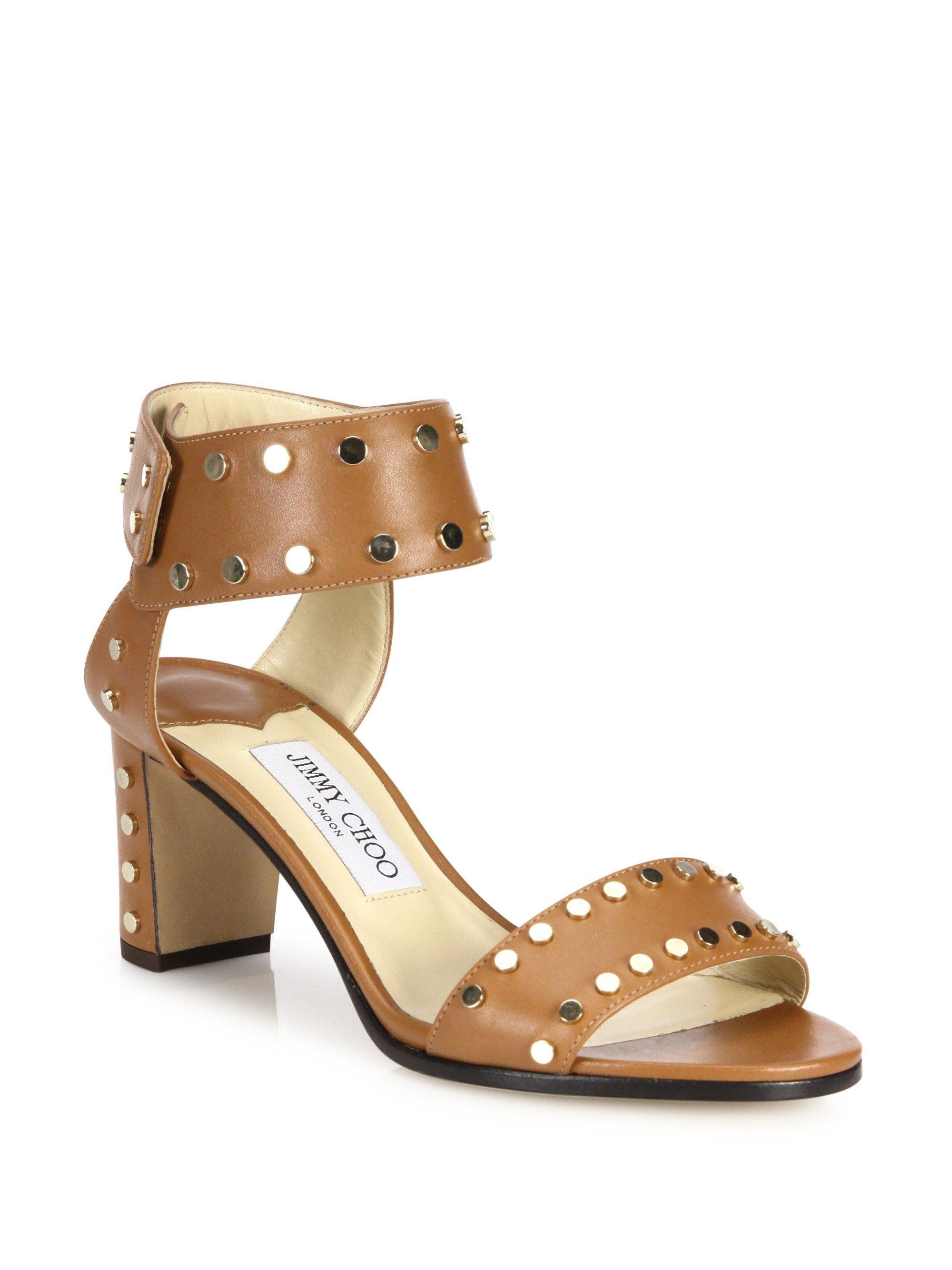 0fb6165136b8 Lyst - Jimmy Choo Veto 65 Studded Leather Block Heel Sandals in Brown
