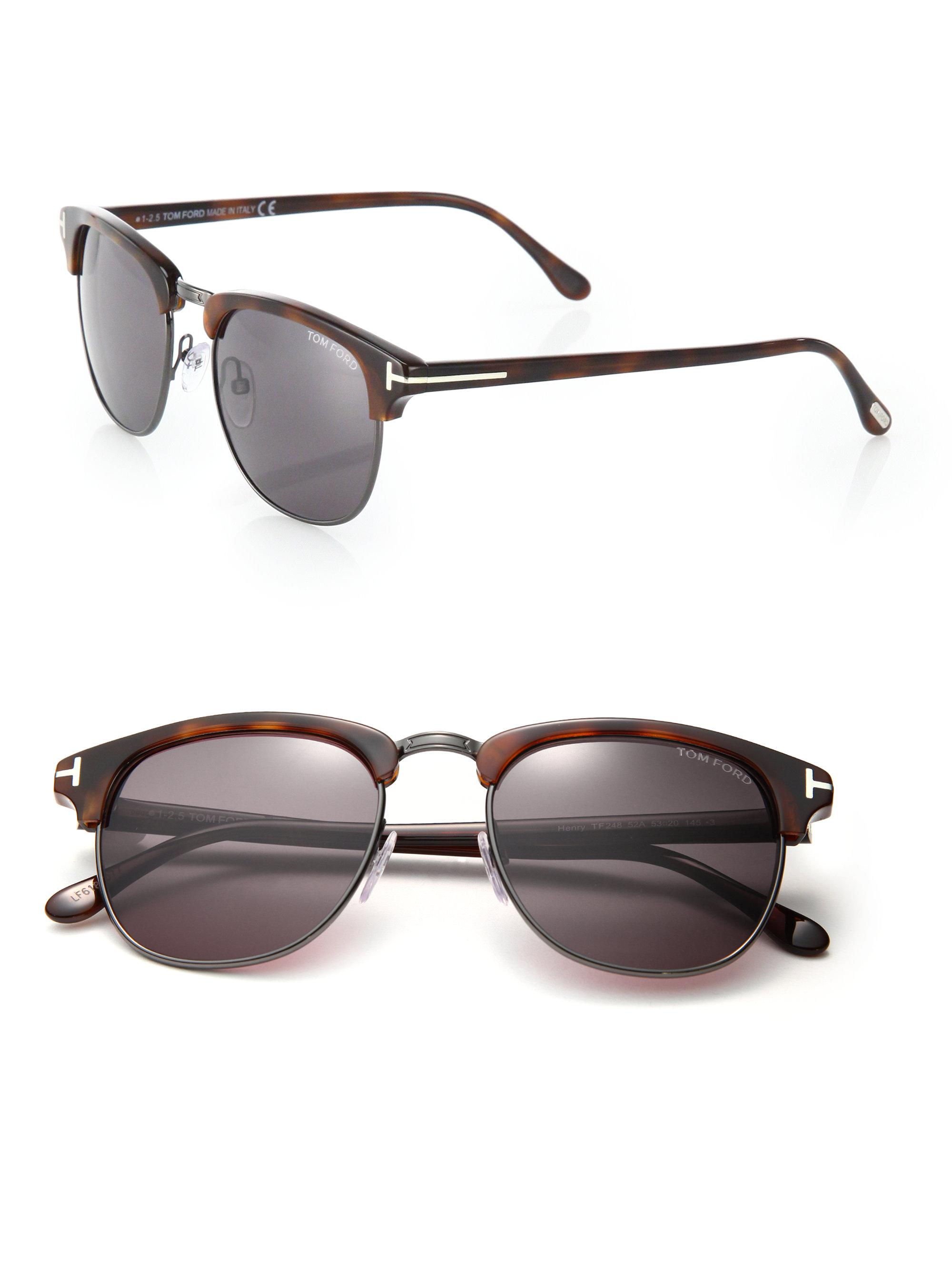 06a6b599e6f57 Tom Ford Henry 53mm Round Sunglasses in Brown for Men - Lyst
