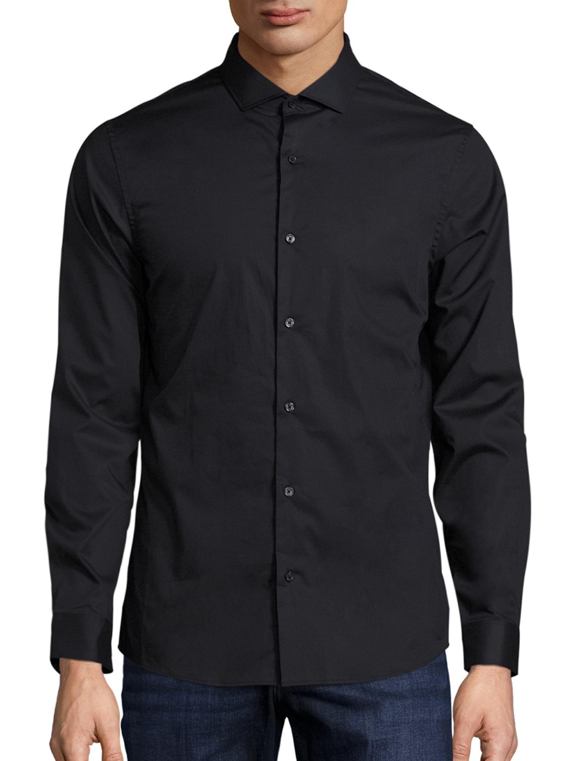 Michael kors Slim-fit Stretch Button-down Shirt in Black for Men ...