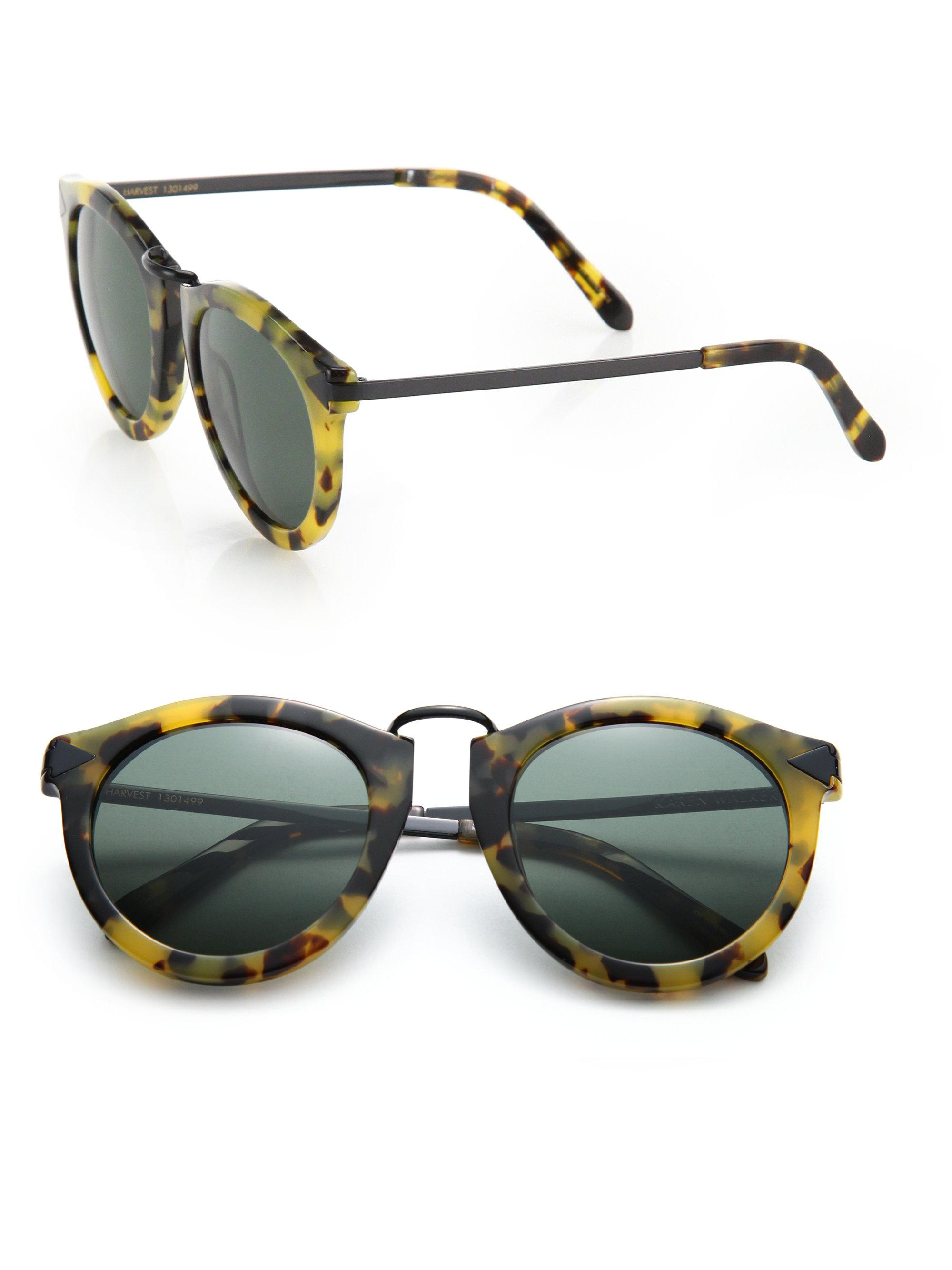 4061b69271a2 Karen Walker Harvest 51mm Round Sunglasses in Yellow - Lyst