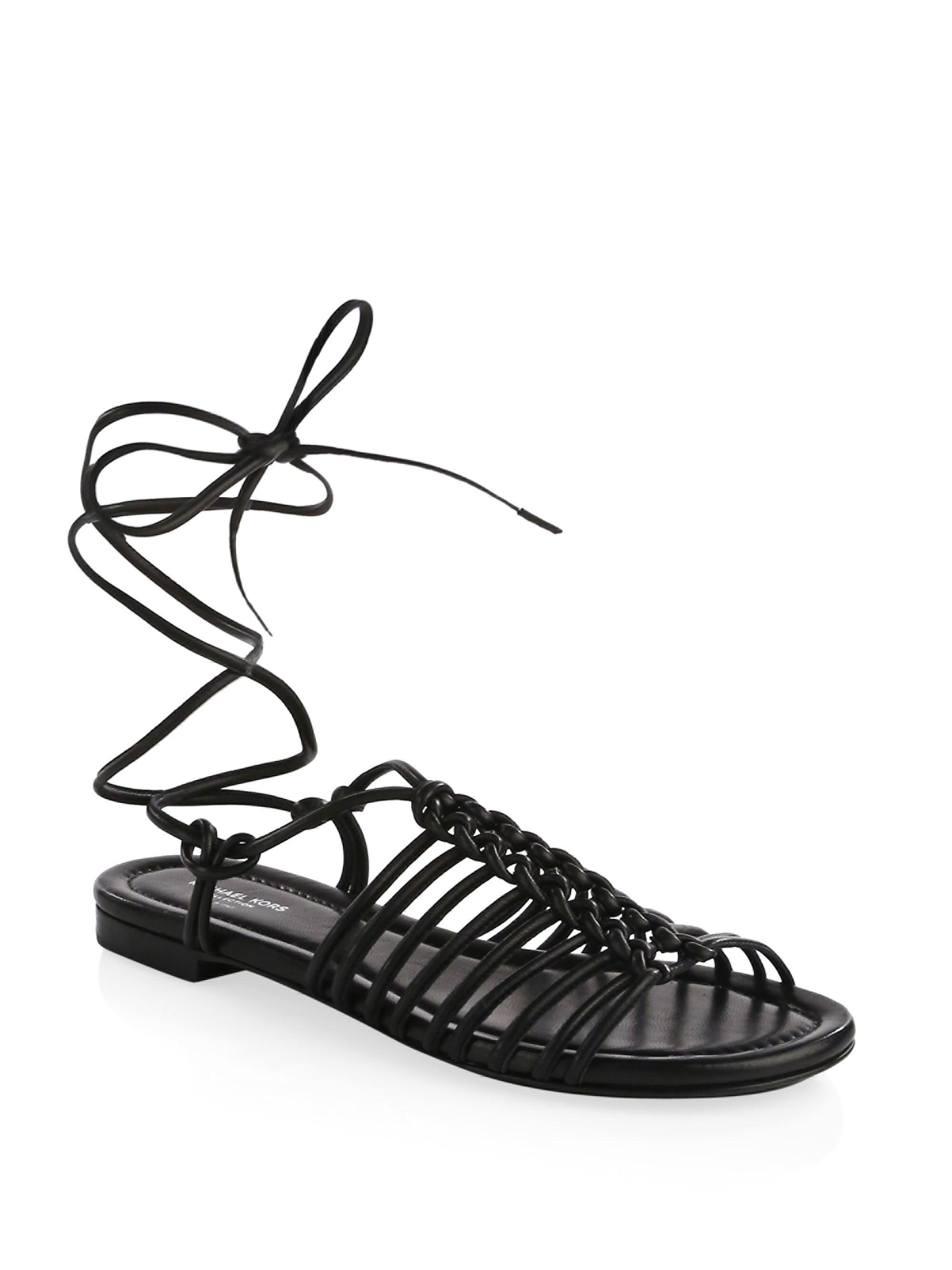 d869f04d99b Lyst - Michael Kors Women s Fagan Braided Sandals - Black - Size 37 ...