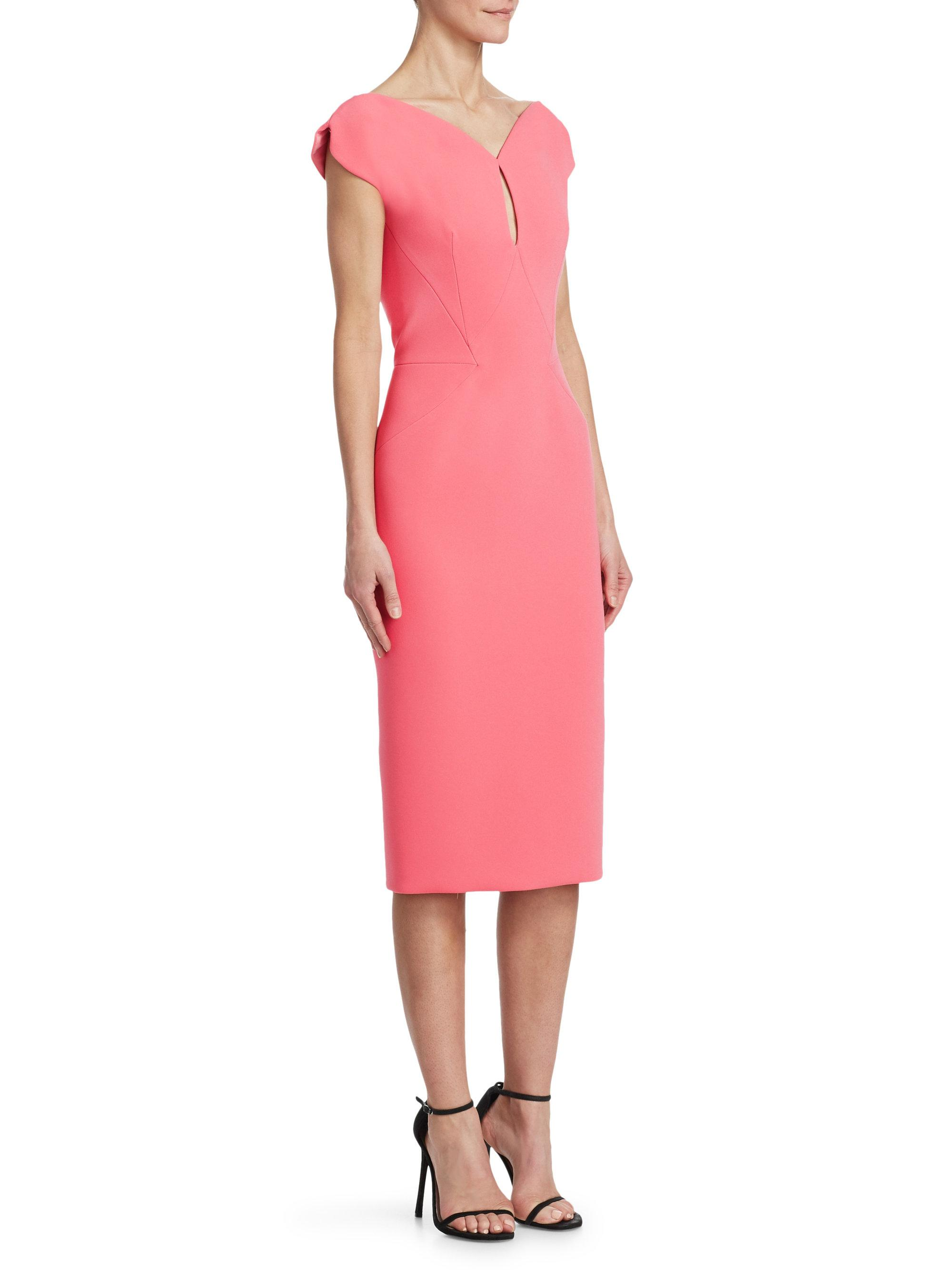 0bc5f6191e Zac Posen Bonded Crepe Sheath Cocktail Dress in Pink - Lyst