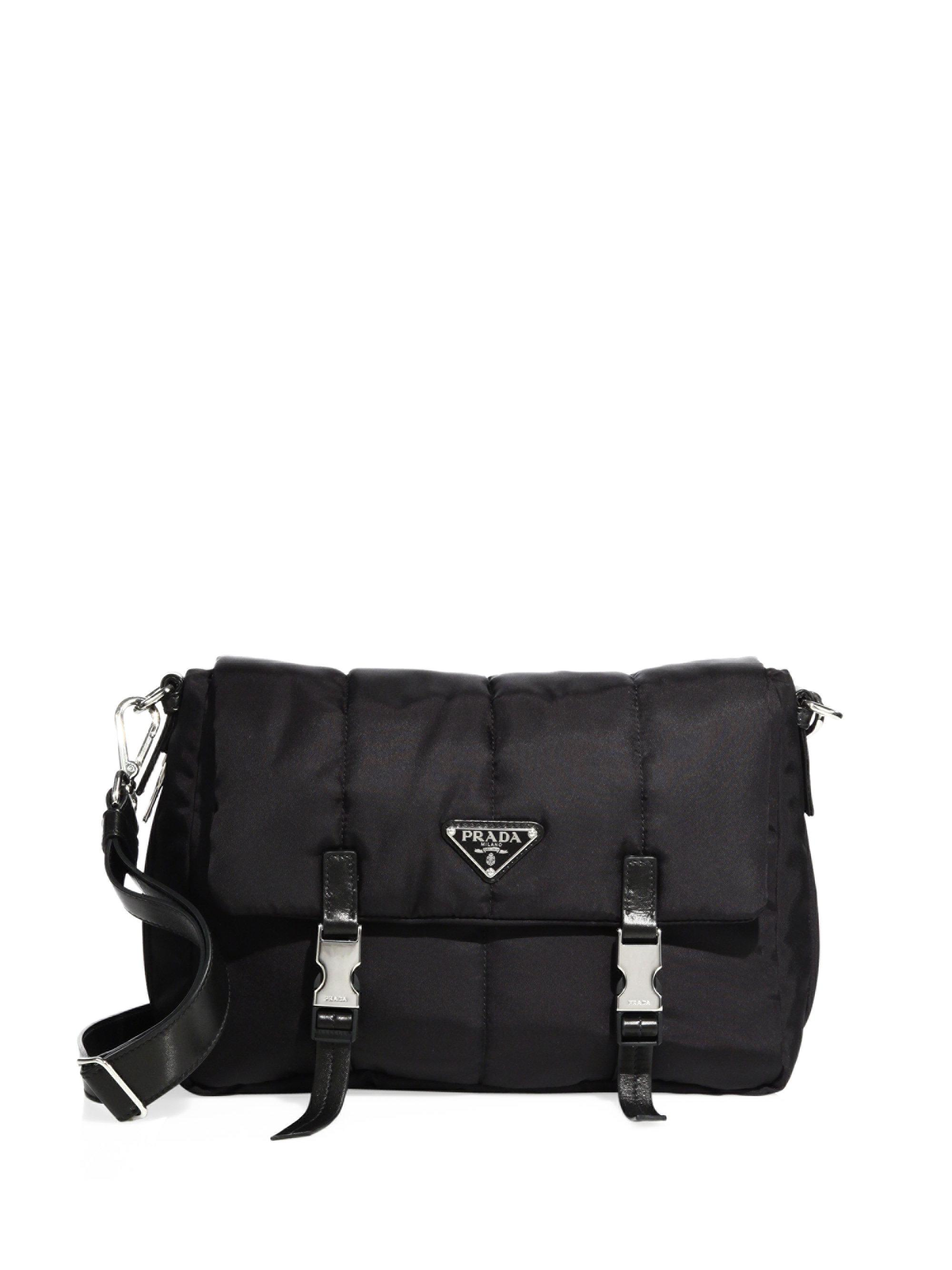 9f2c0d81ba3983 ... inexpensive lyst prada tessuto nylon bomber messenger bag in black  cf0c9 9d610