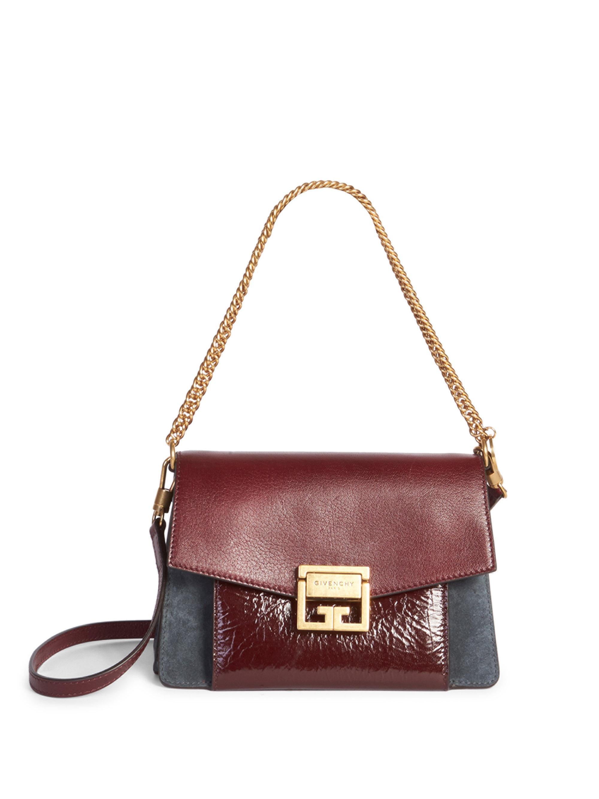 44b0d511d0fd Lyst - Givenchy Small Gv3 Crackle   Suede Aubergine Shoulder Bag