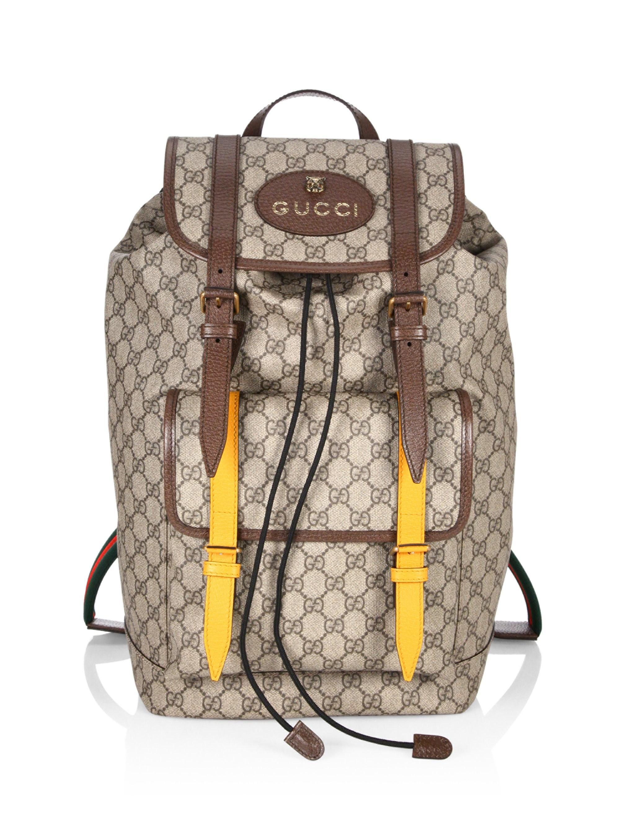 262446558a904f Gucci Men's GG Supreme Backpack - Beige in Natural for Men - Lyst
