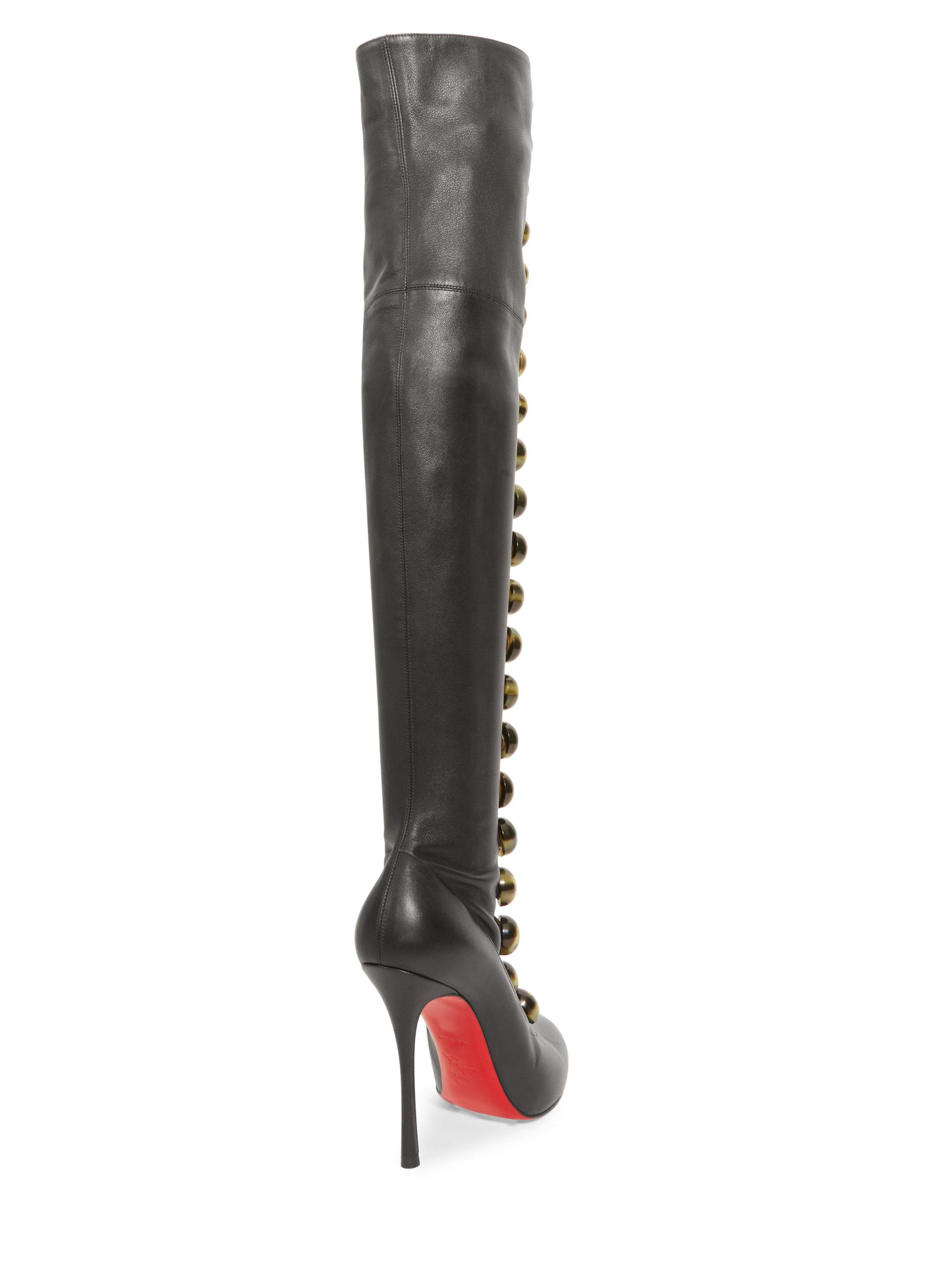 search for official durable in use super service Christian Louboutin Fabiola 100 Leather Thigh High Boots in ...