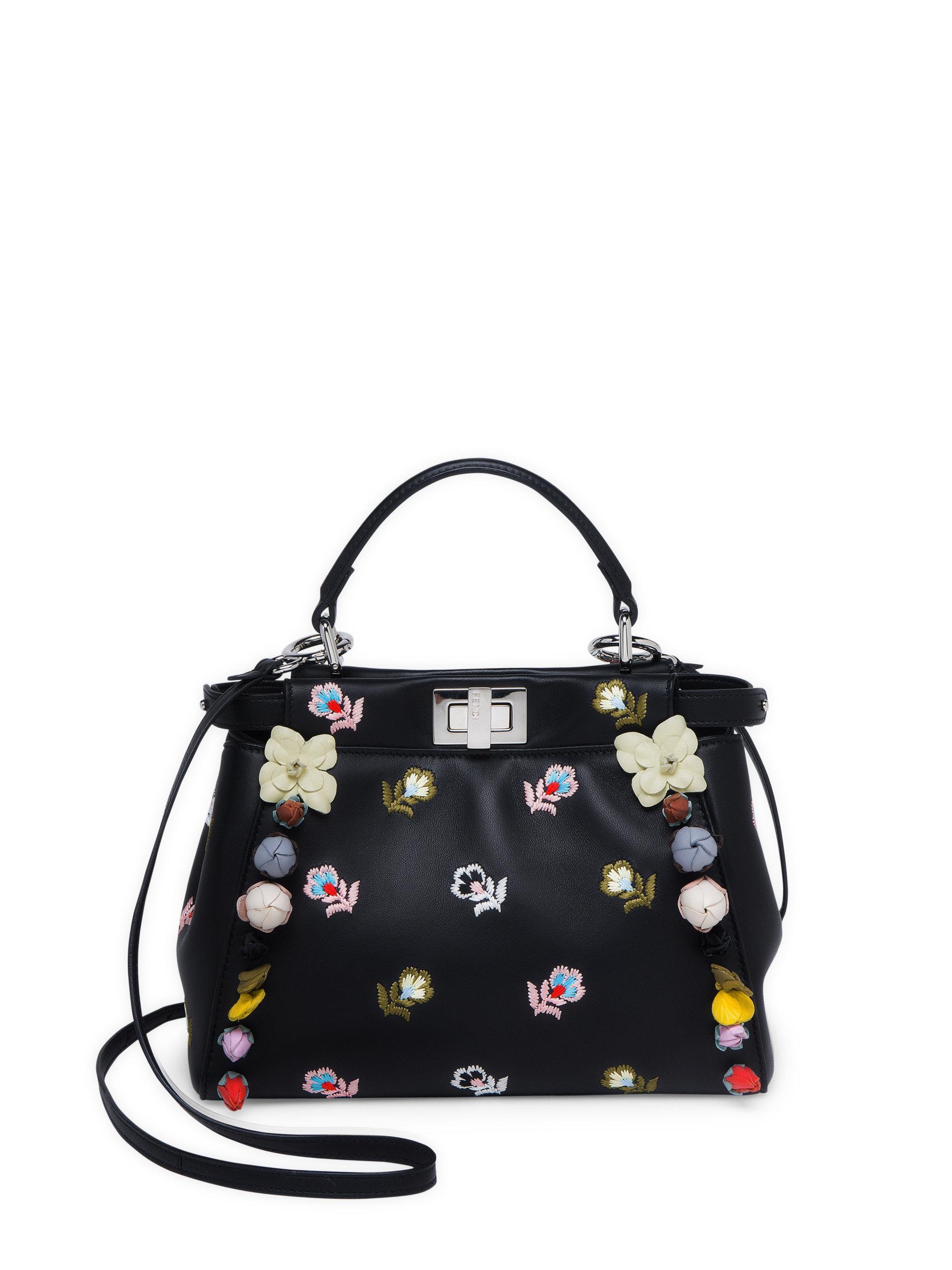 9e36861a6446 Fendi Peekaboo Mini Embellished Floral-embroidered Leather Satchel ...