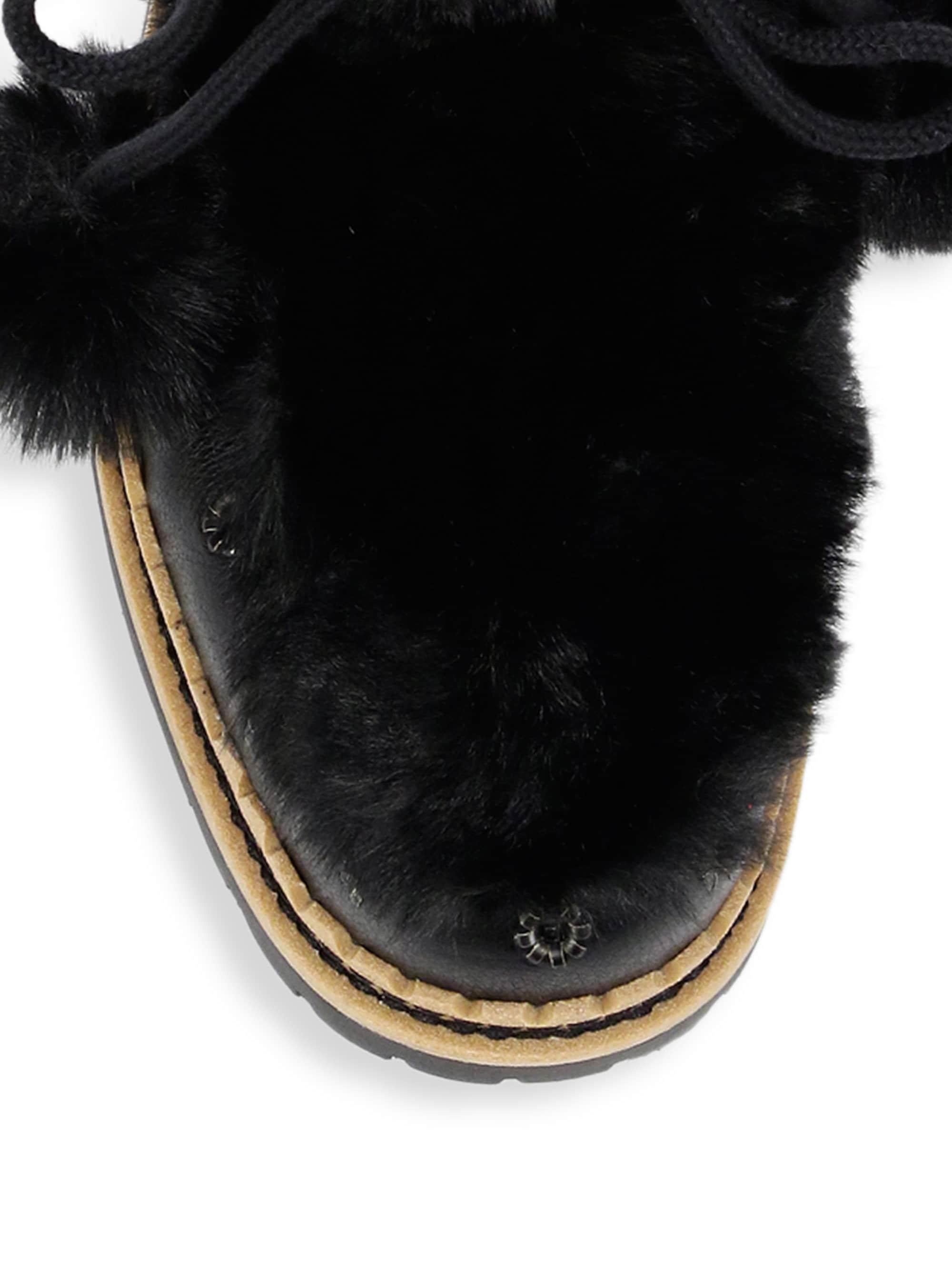 e4ebc057834d9e Lyst - Sam Edelman Women s Blanche Faux Fur And Leather Tassel Boots -  Black - Size 5.5 in Black - Save 60%