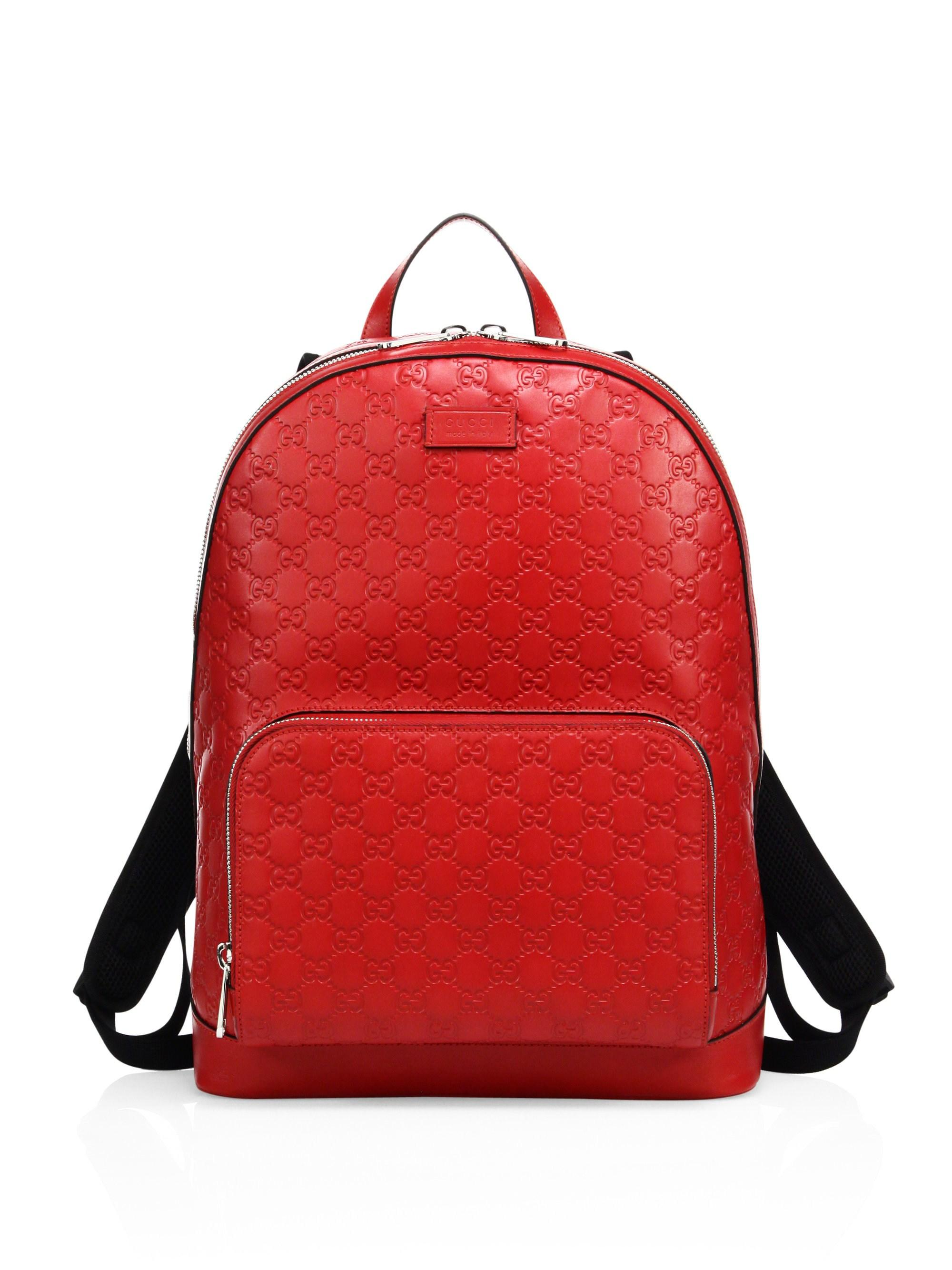 493815608b39 Gucci Signature Embossed Leather Backpack in Red for Men - Lyst