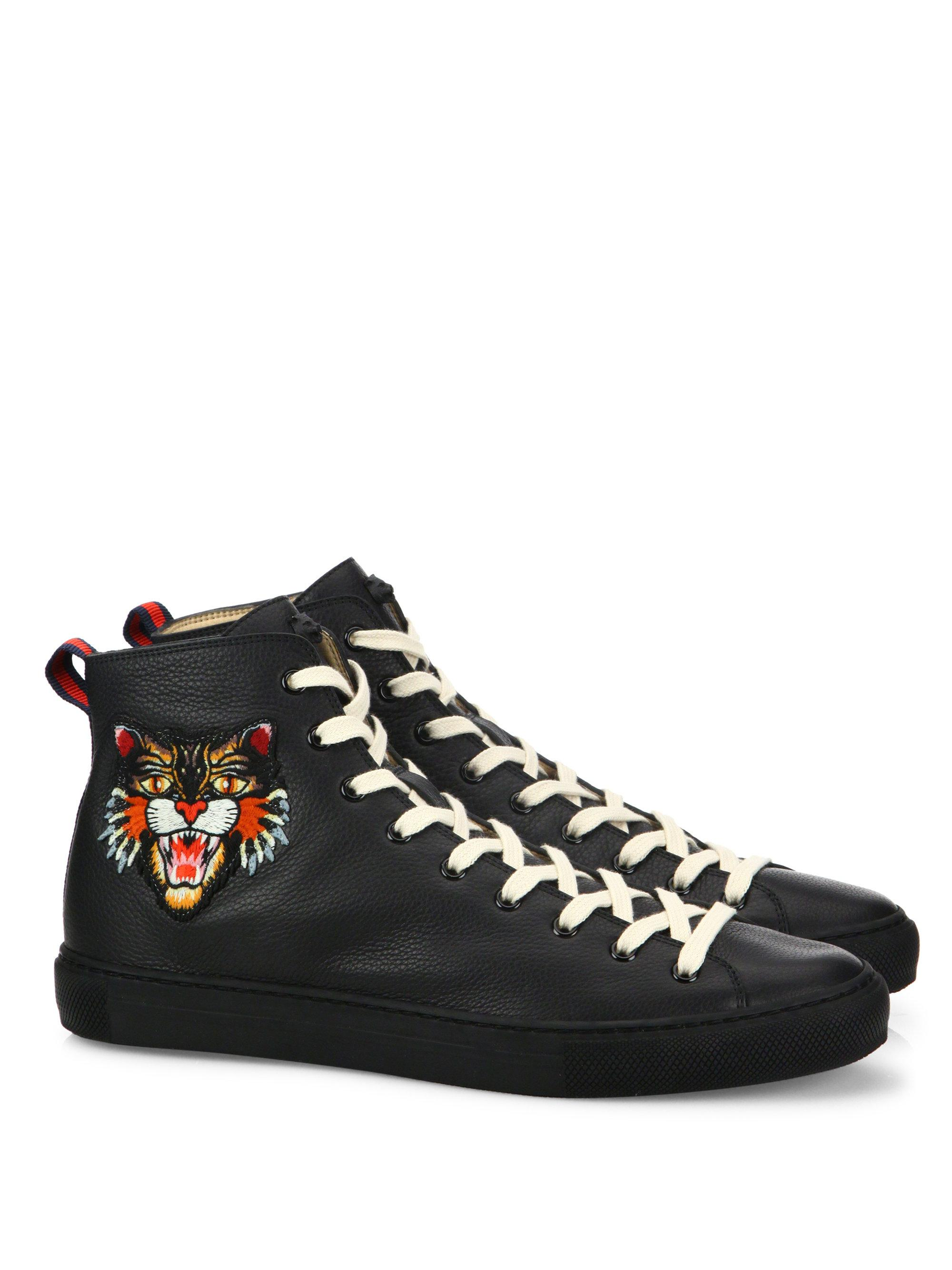 Gucci. Women's Black Major Tiger Ufo Embroidered Leather ...