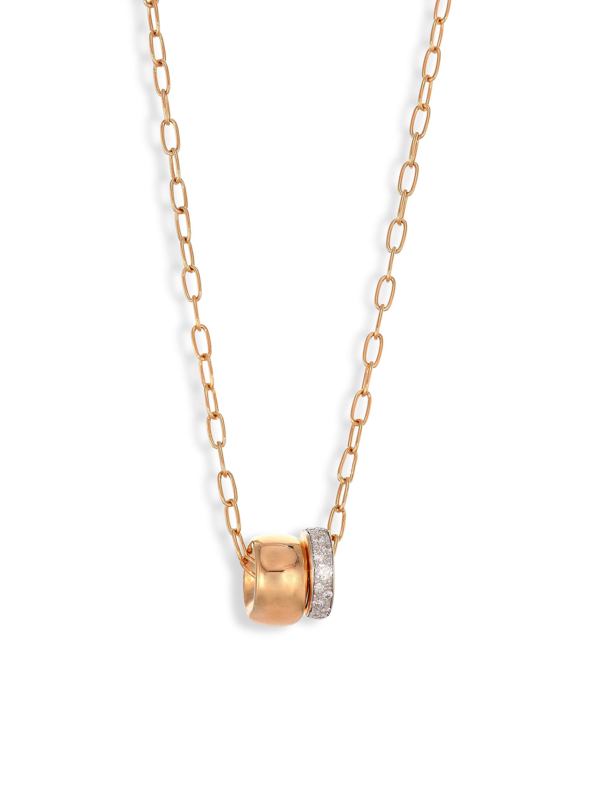POMELLATO 18k Rose Gold ICONICA Pendant Necklace w/ Diamonds xSTlTHbvK