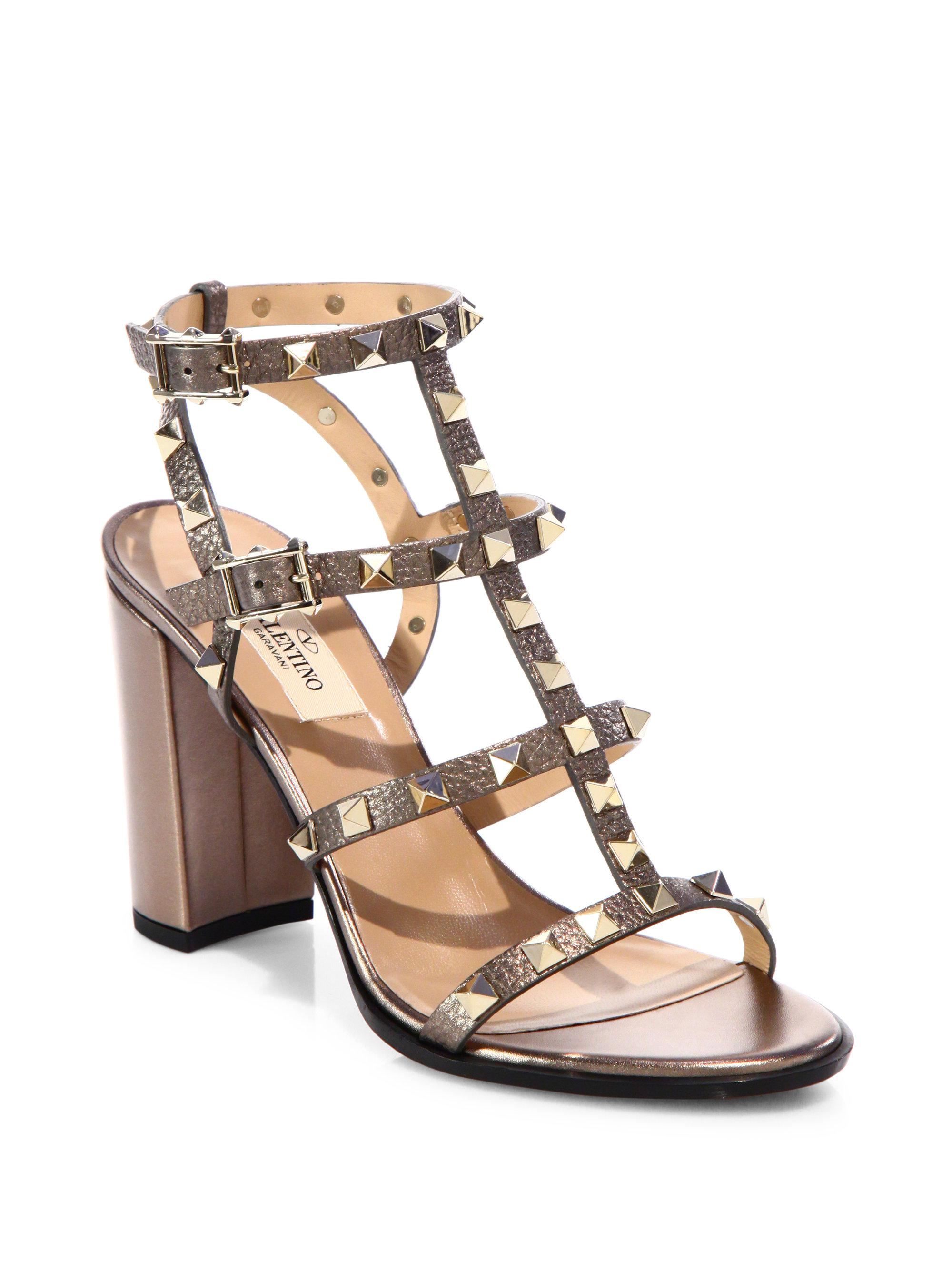 9d940699e36 Lyst - Valentino Rockstud Metallic Leather Cage Block Heel Sandals ...