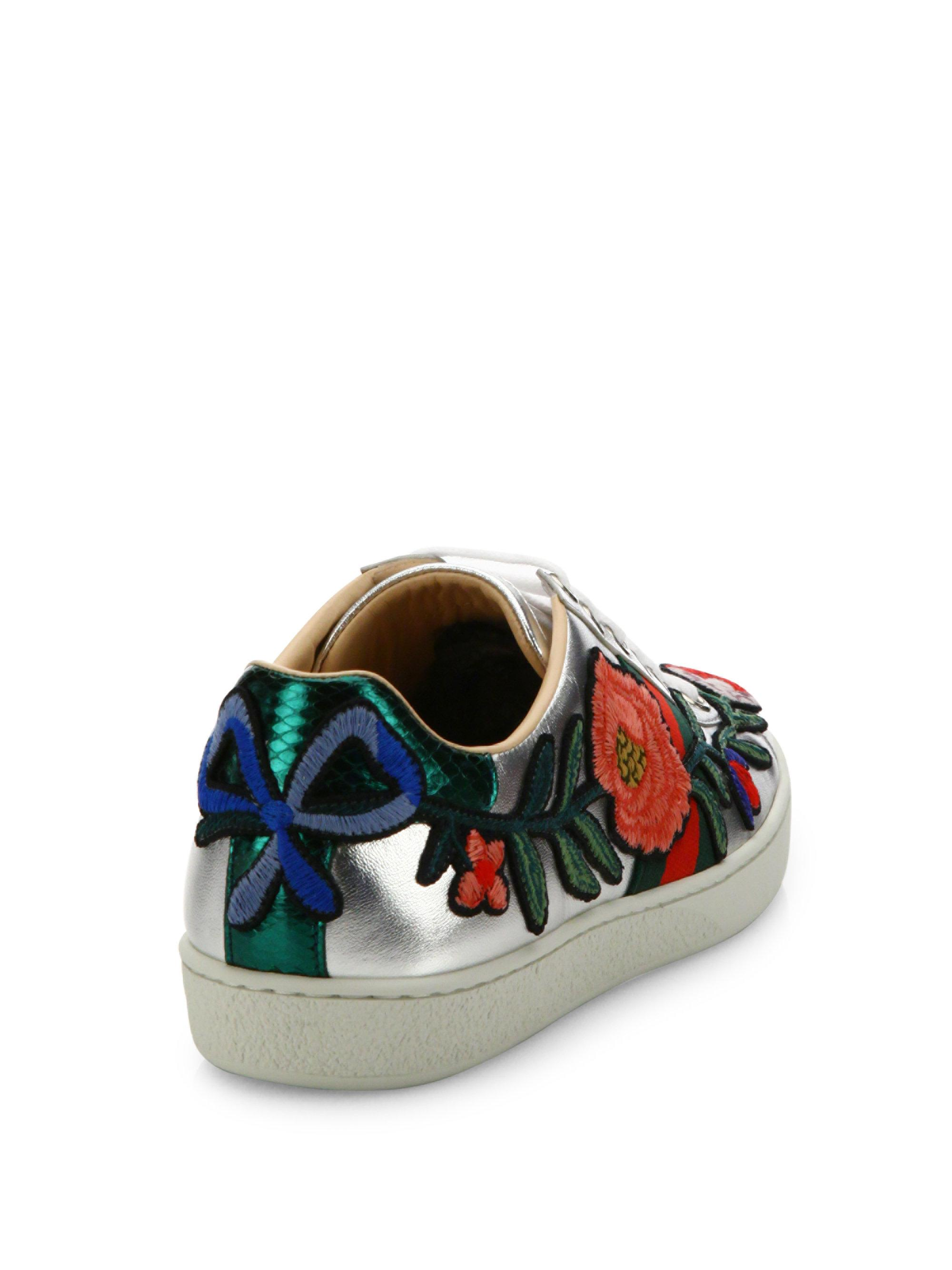 6f59972f09c Lyst - Gucci New Ace Floral-embroidered Metallic Leather Sneakers in ...