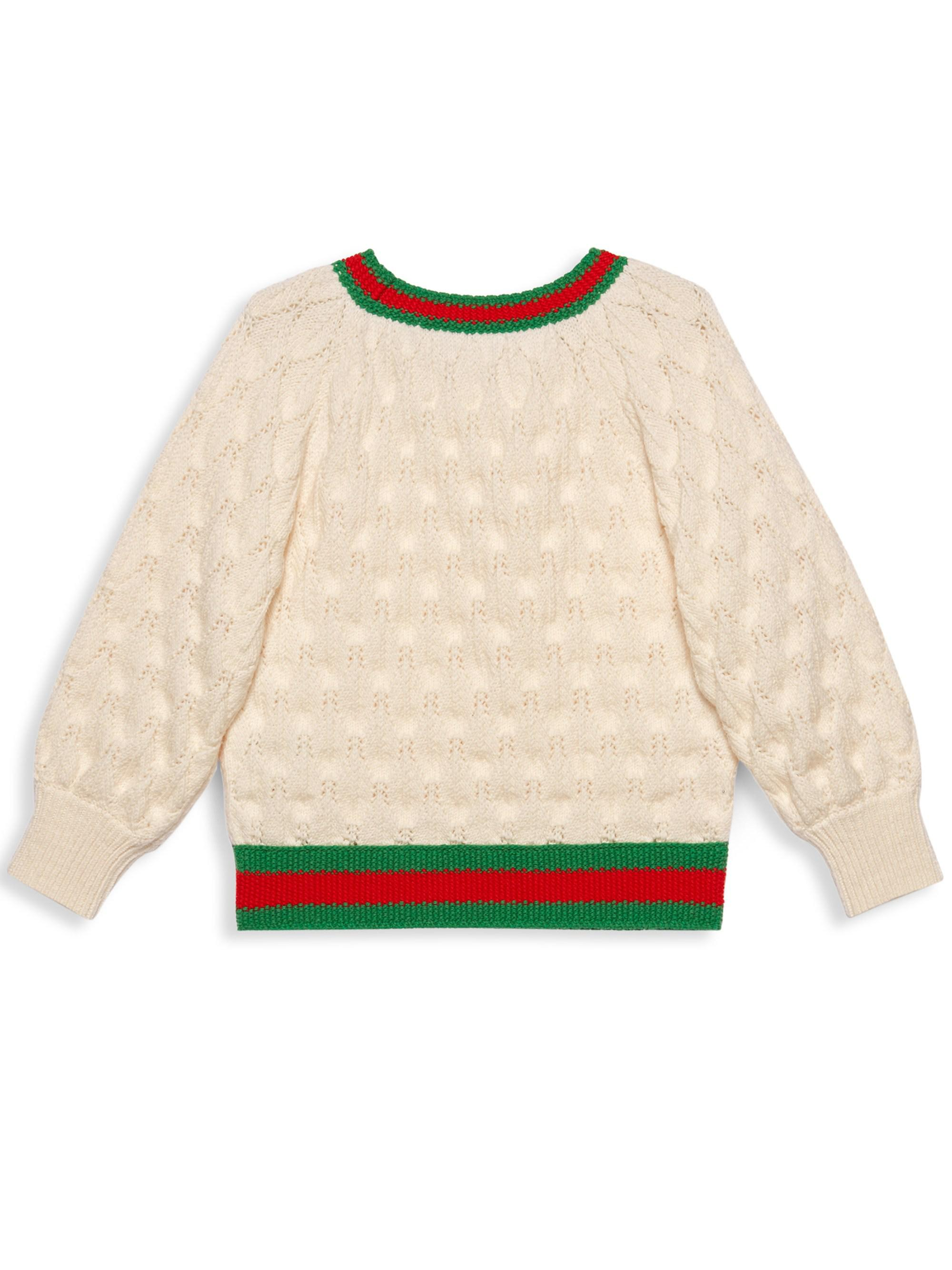 d71e034ed9b Gucci Little Girl's & Girl's Wool Knit Crewneck Sweater - White Iris in  White - Save 40% - Lyst