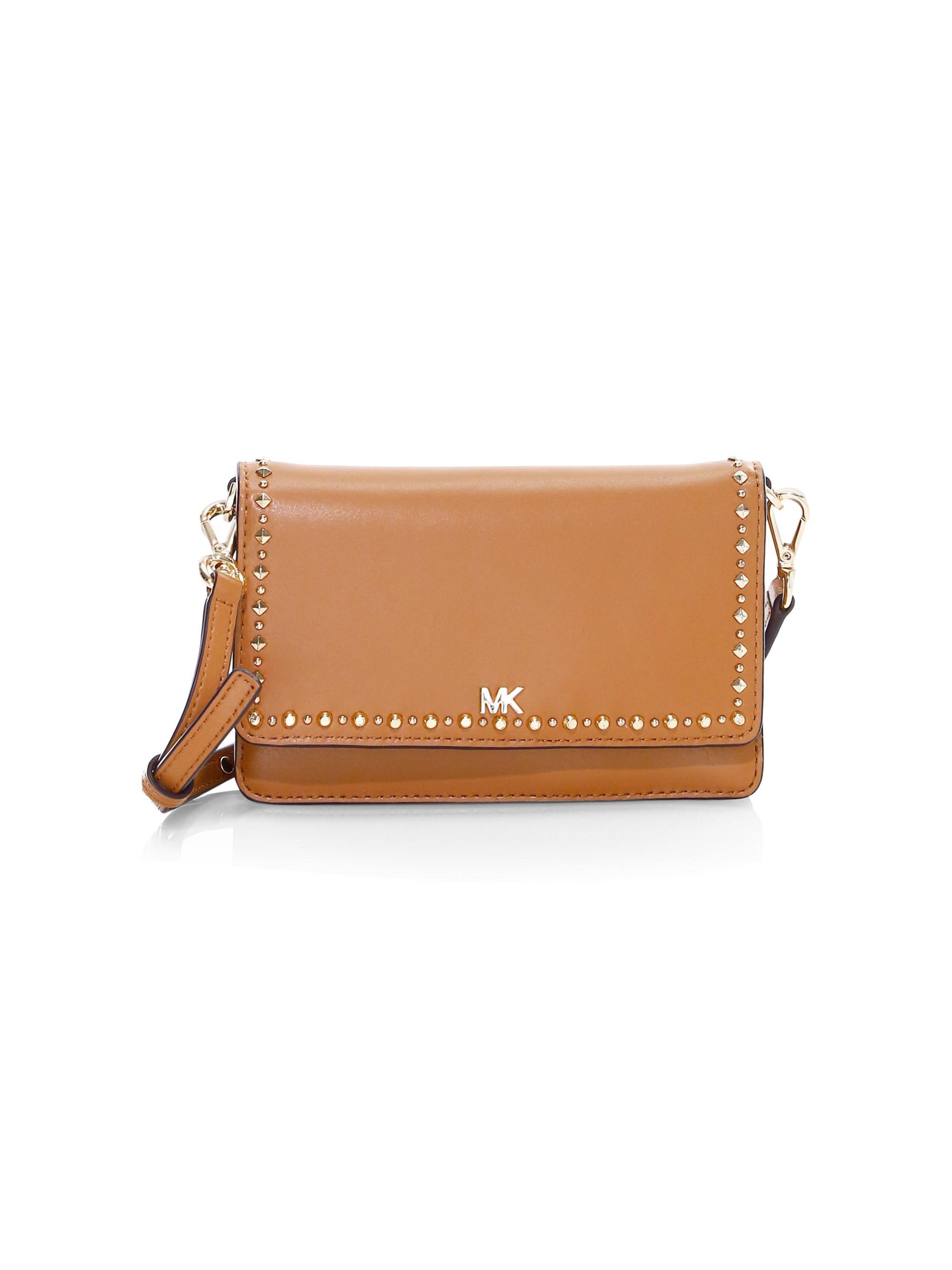 890535d577f191 MICHAEL Michael Kors Women's Stud-trim Goldtone Logo Leather ...