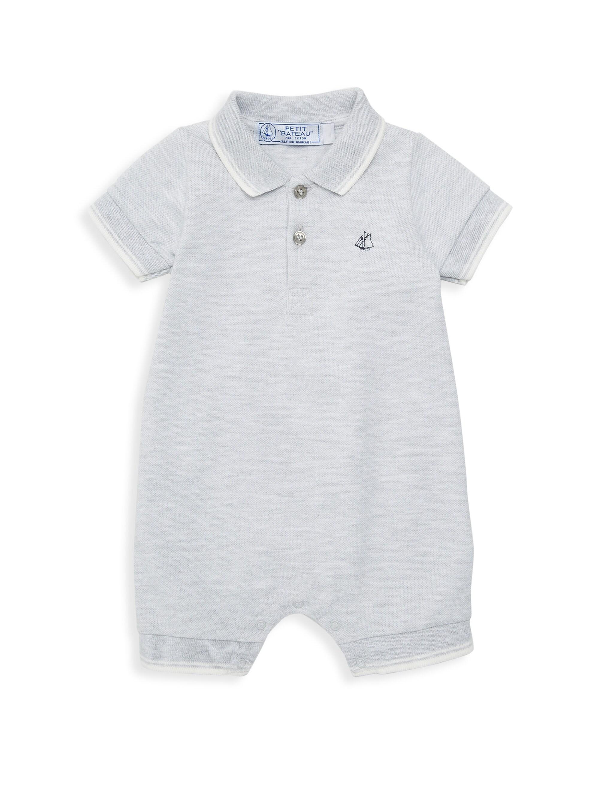 4e090d1ee1 Petit Bateau Baby Boy's Begonia Polo Romper - Grey in Gray for Men ...