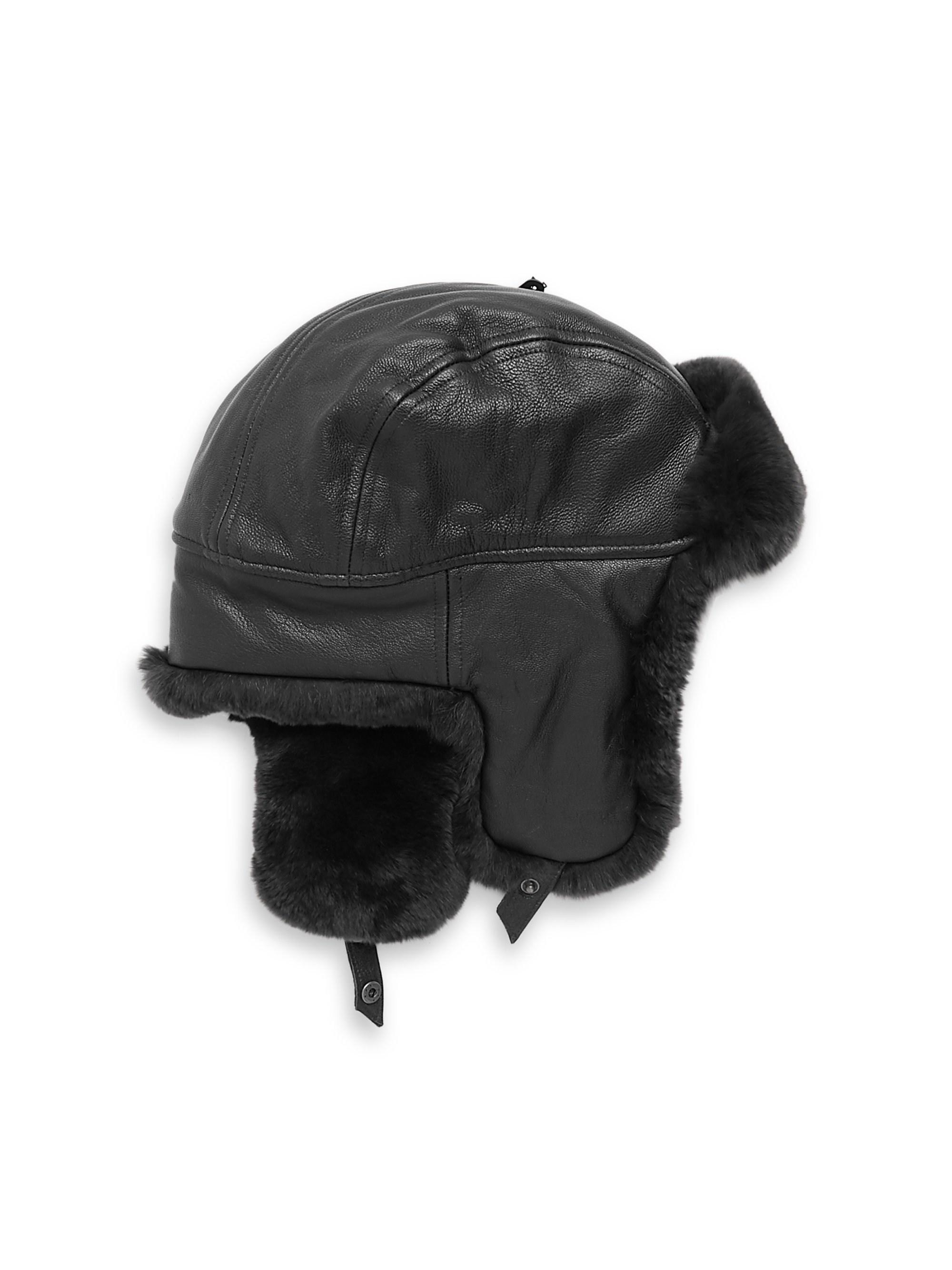 Lyst - Crown Cap Sheared Rabbit Aviator Hat in Black for Men 8ece5f449071