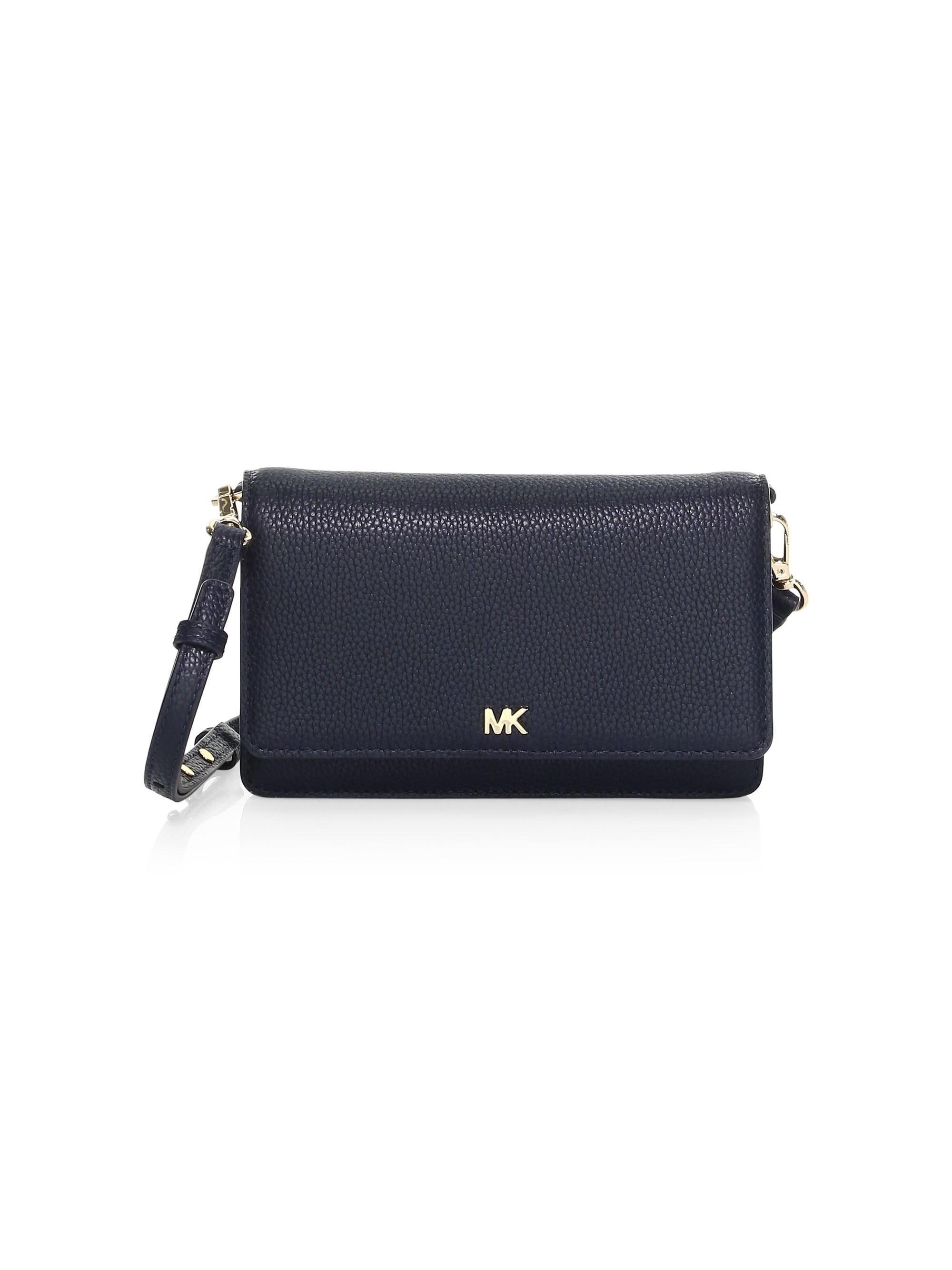 8370157e3eee Lyst - MICHAEL Michael Kors Pebbled Leather Phone Crossbody Bag in Blue