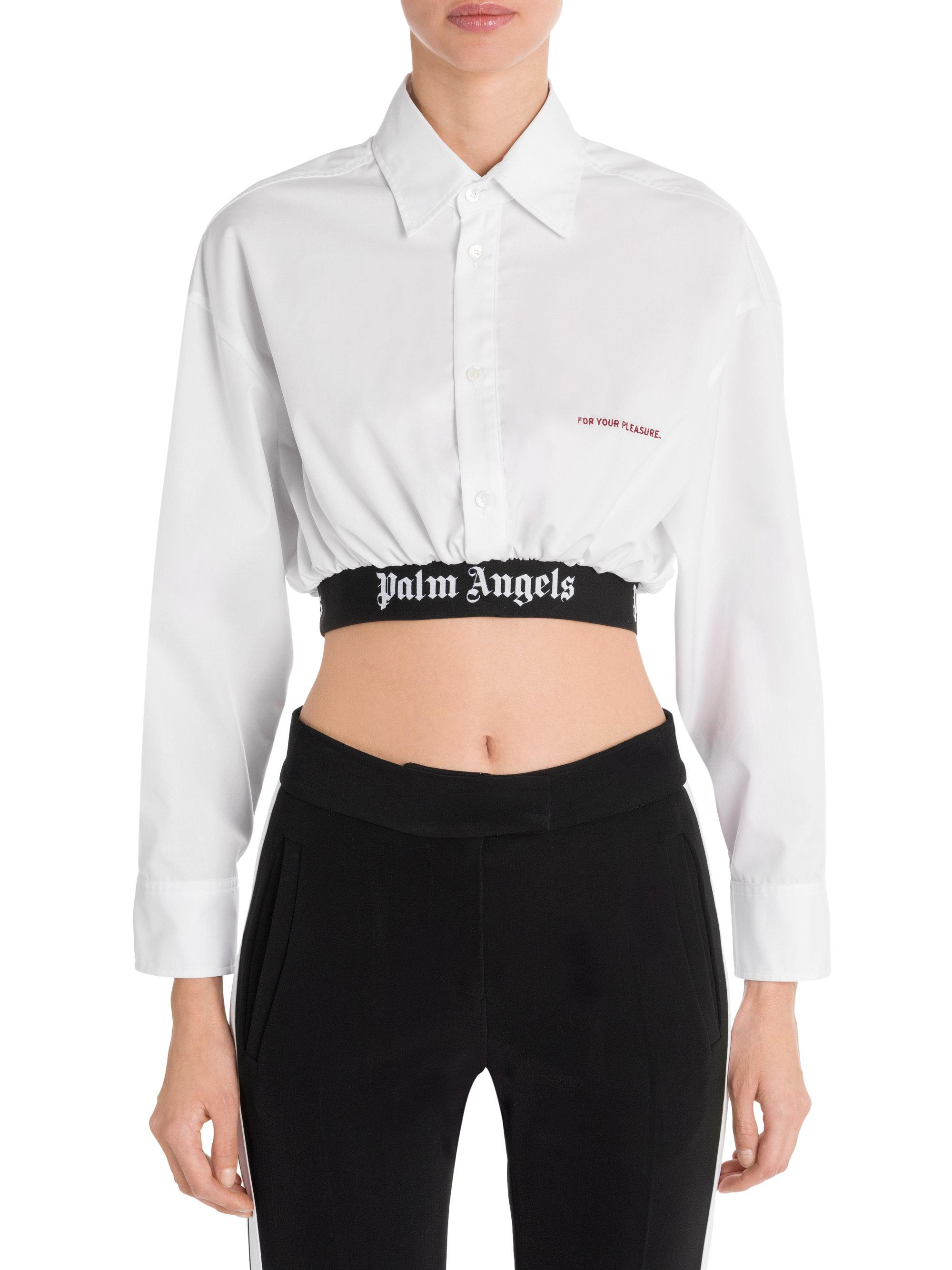 cadf7a1f233274 Lyst - Palm Angels Cropped Classic Logo Band Shirt in White