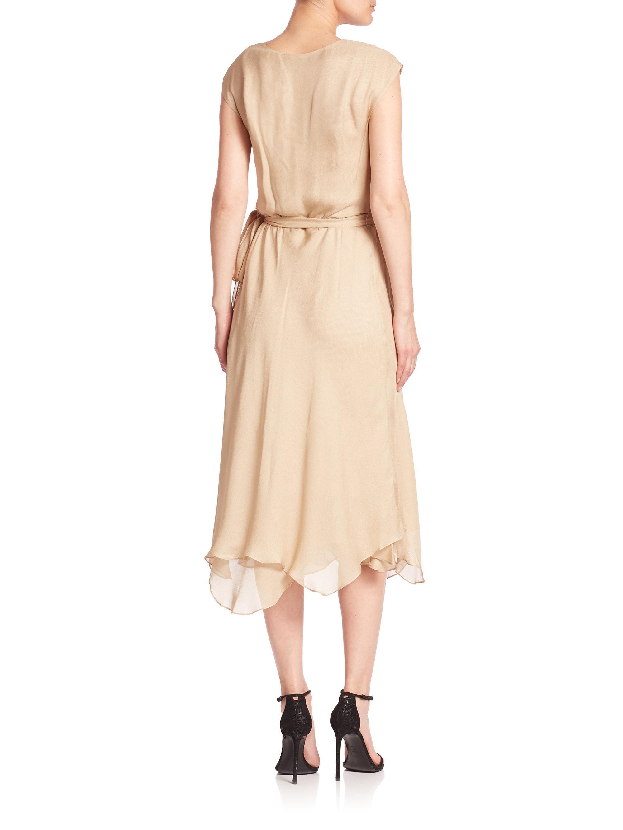 b542ad08582b Polo Ralph Lauren Silk Gauze Wrap Dress in Natural - Lyst