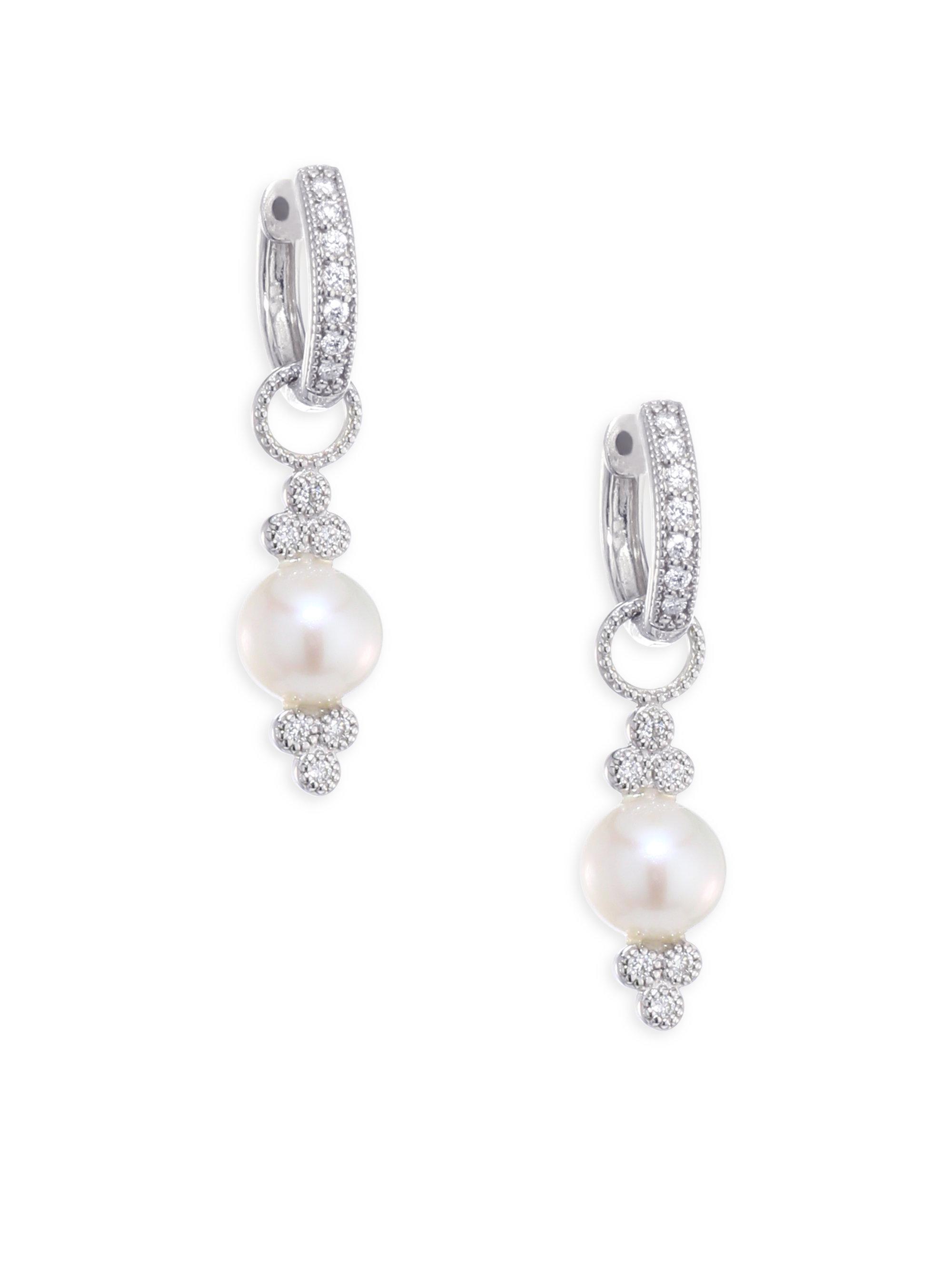 Jude Frances Provence Pearl & Diamond Earring Charms TwPoTBdm