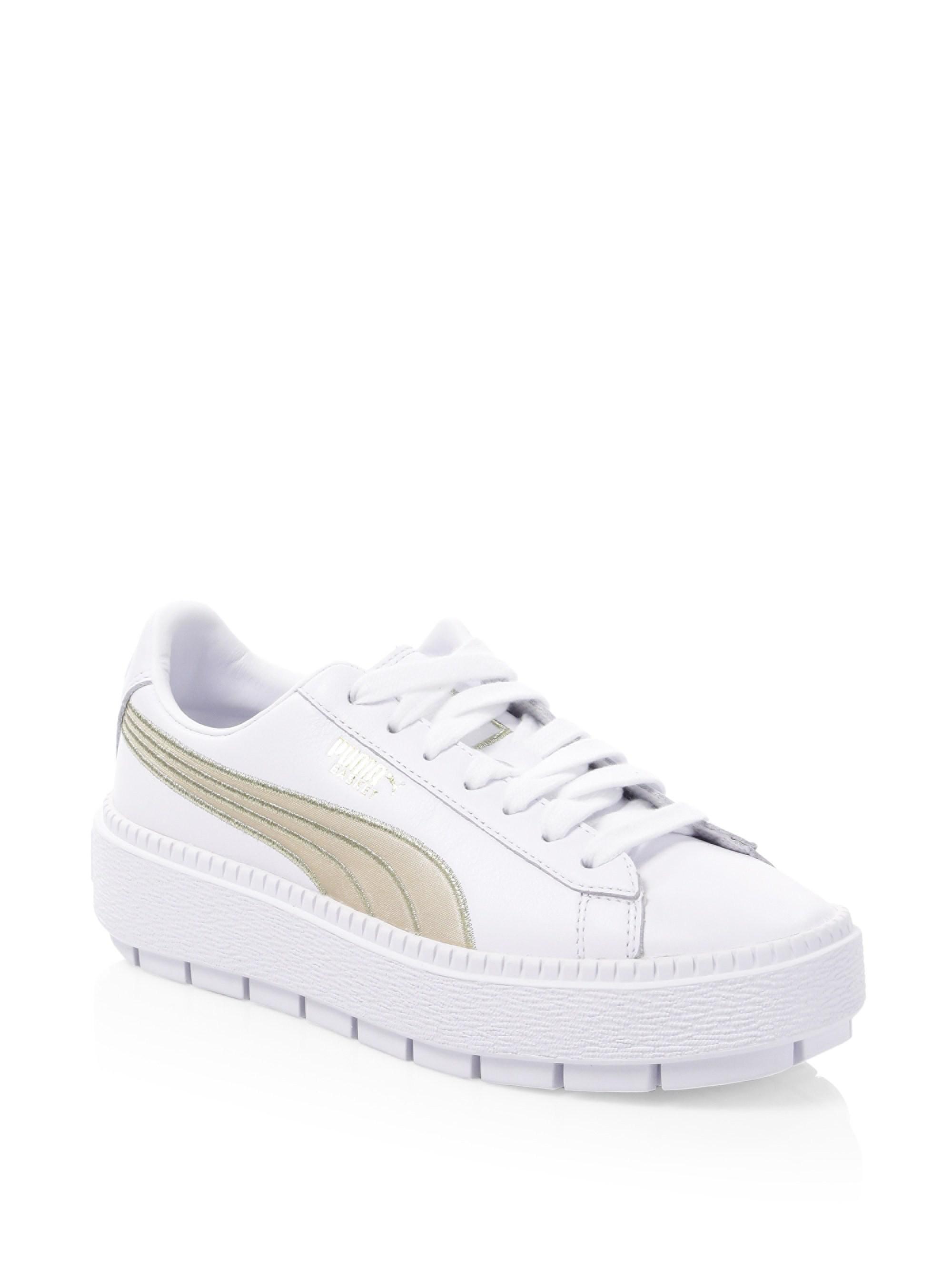 0c8fd380231 PUMA Platform Trace Varsity Sneakers in White - Lyst