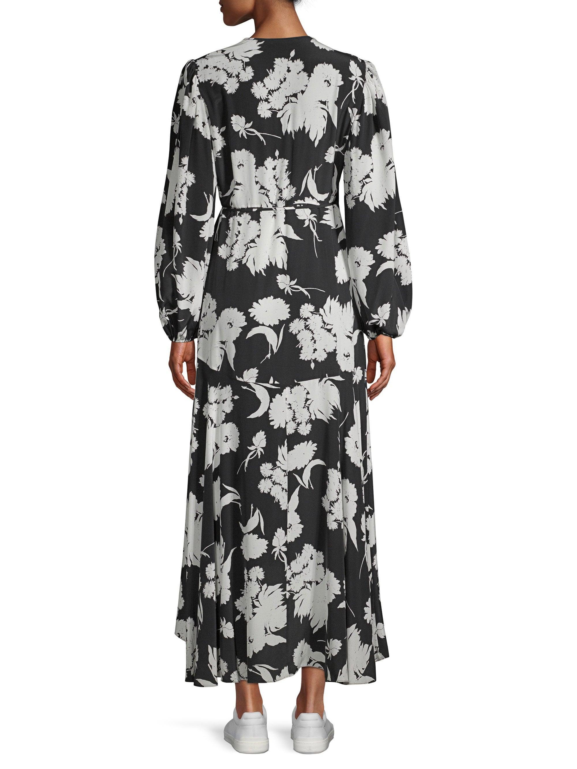 9f40d136 Ganni - Black Kochhar Floral Midi Wrap Dress - Lyst. View fullscreen