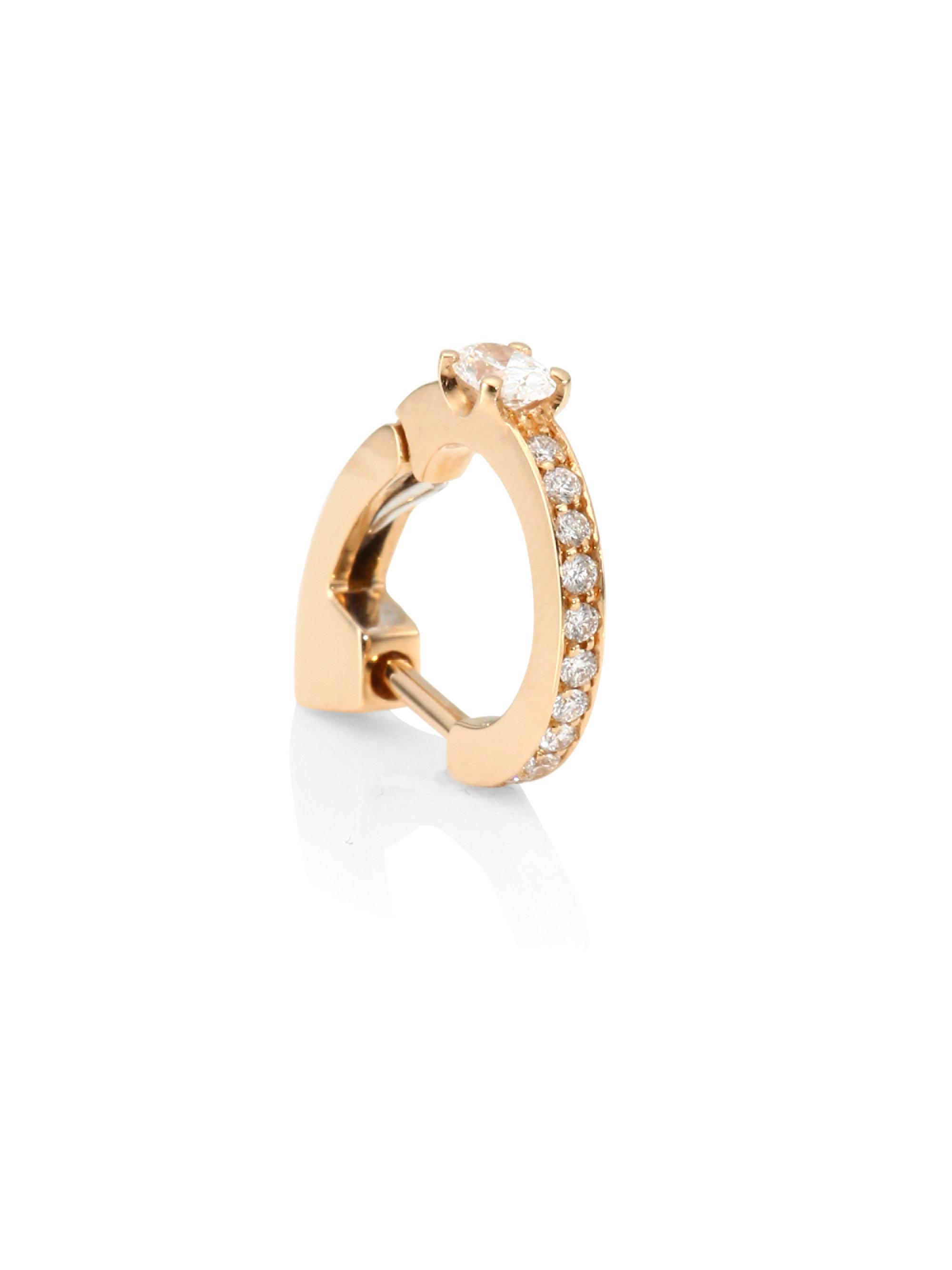 Repossi Pavé Diamond Staple Earring in 18K Rose Gold