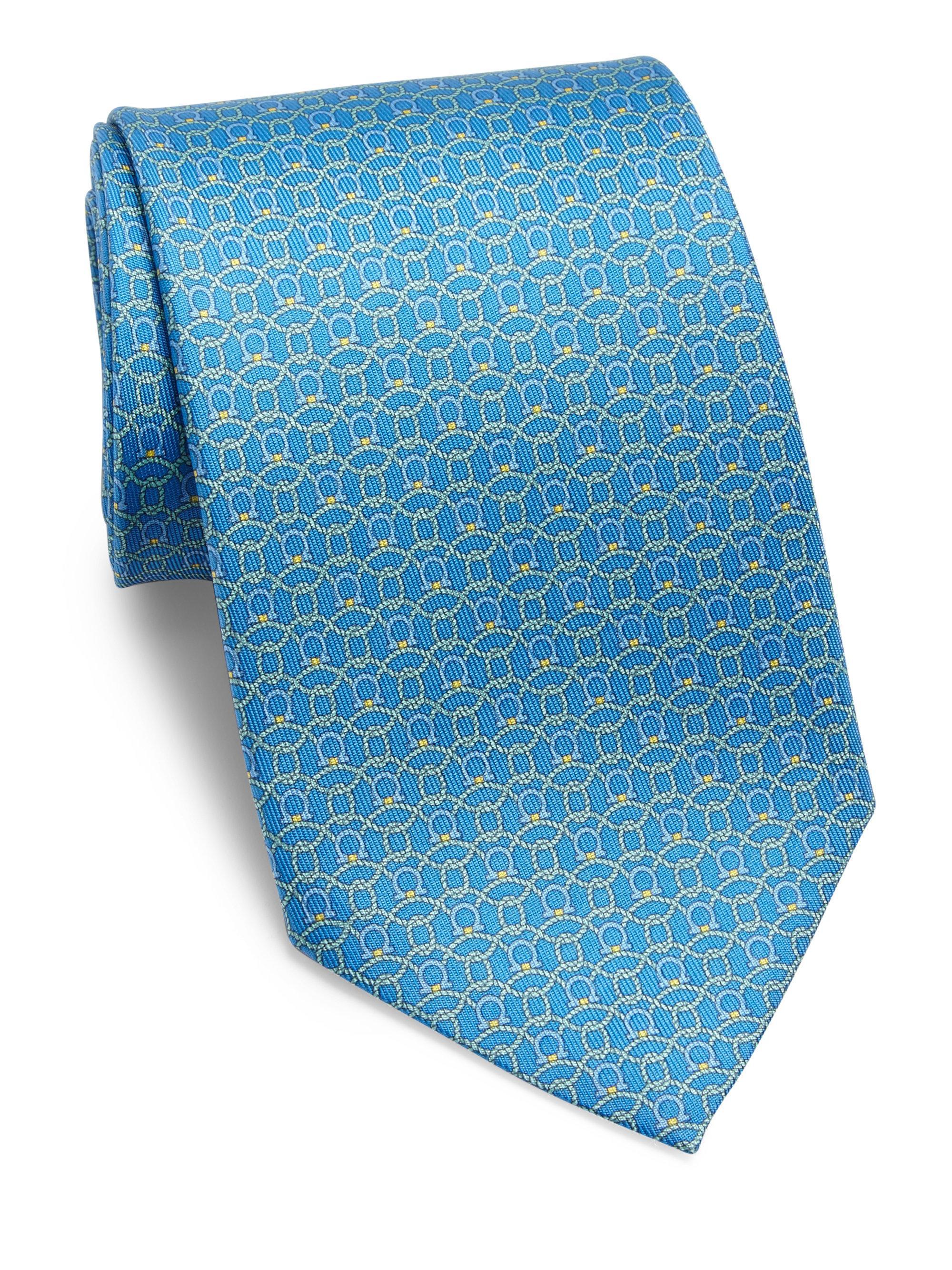 cd7c78743687 Lyst - Ferragamo Rope Gancini Printed Silk Tie in Blue for Men