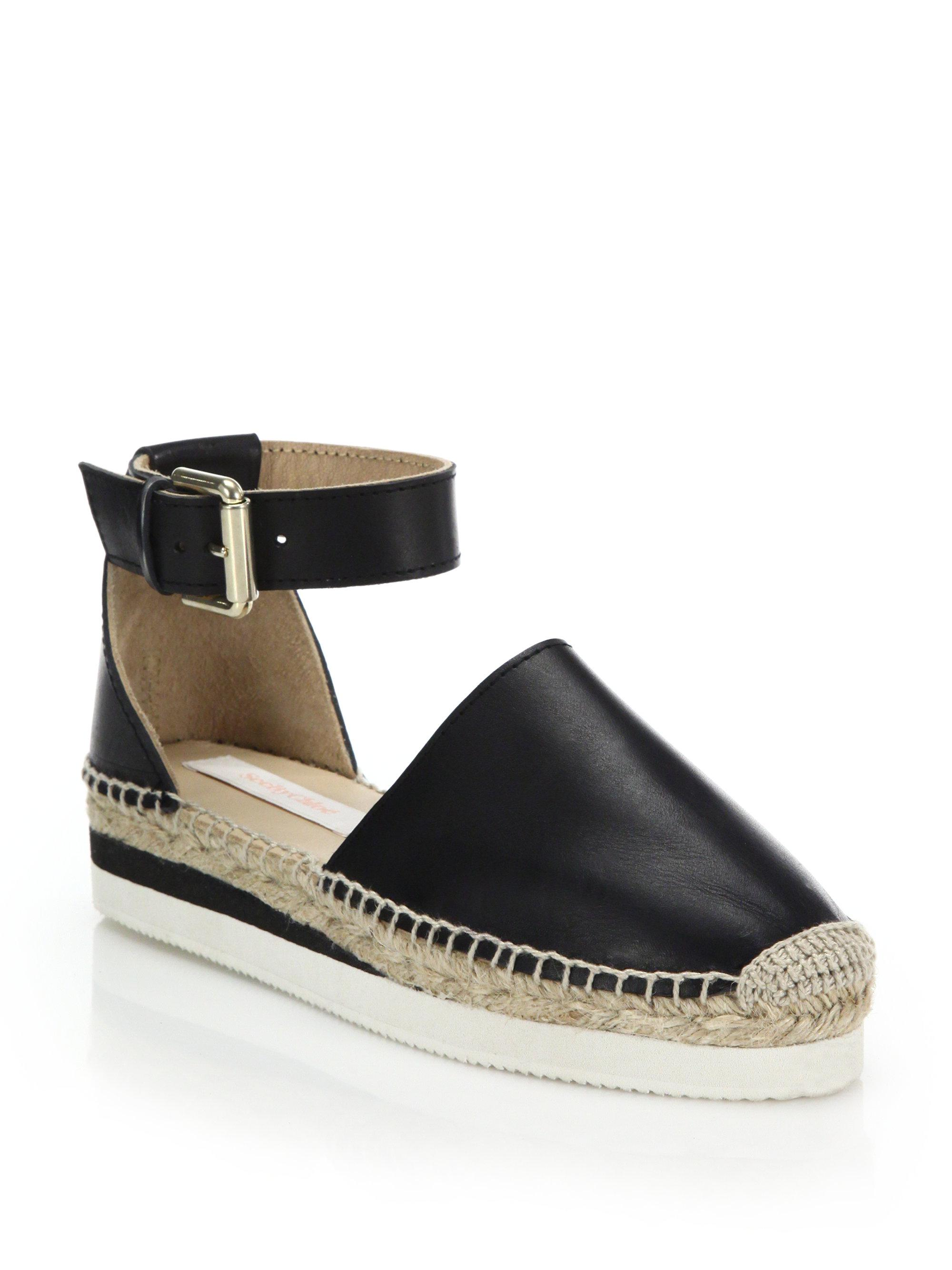 See By Chlo 233 Glyn Leather Espadrille Sandals In Black Lyst