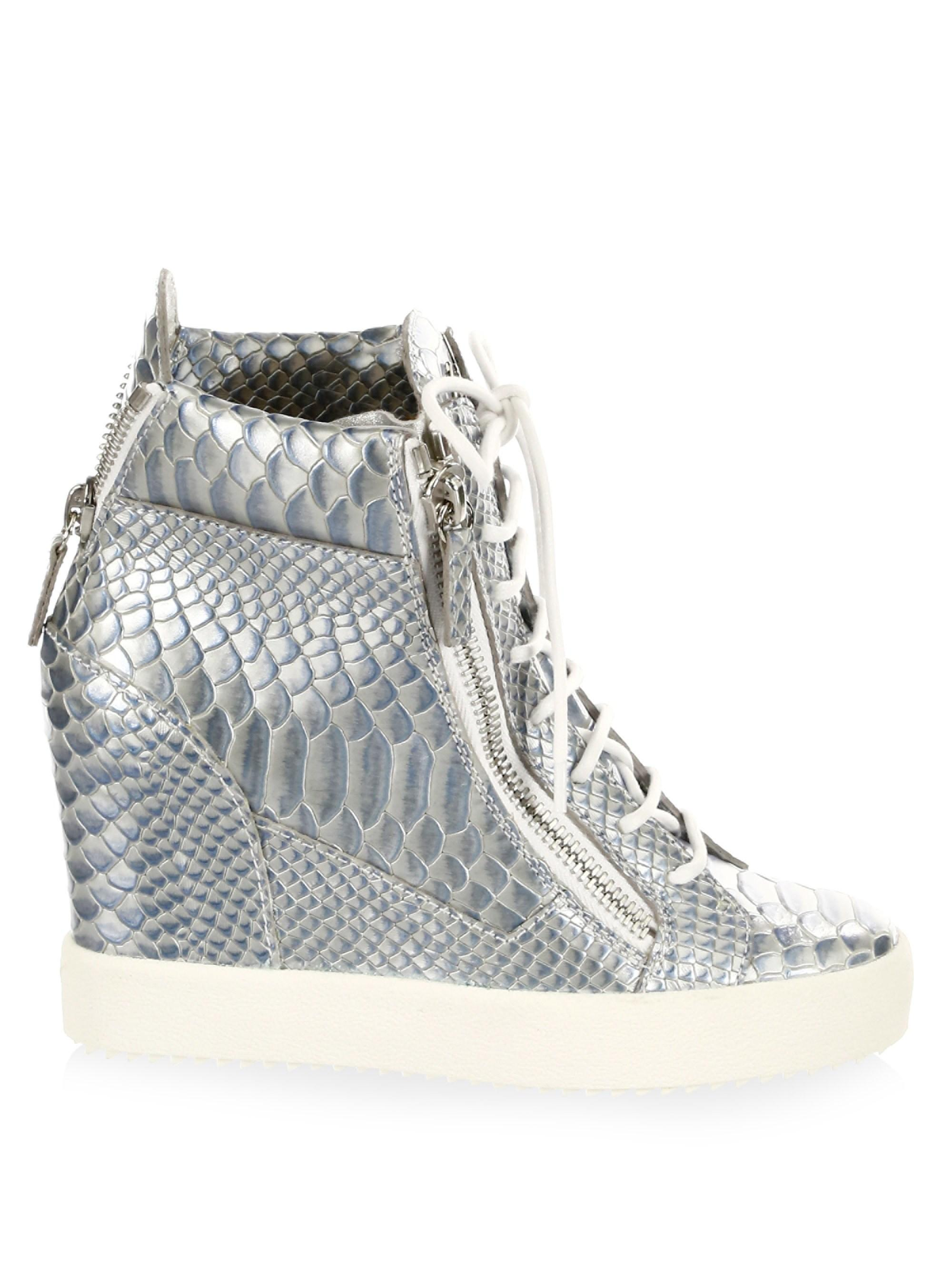 3eedba7e9a834 Giuseppe Zanotti Women's Lamay Lorenz Leather Wedge Sneakers - Ice ...