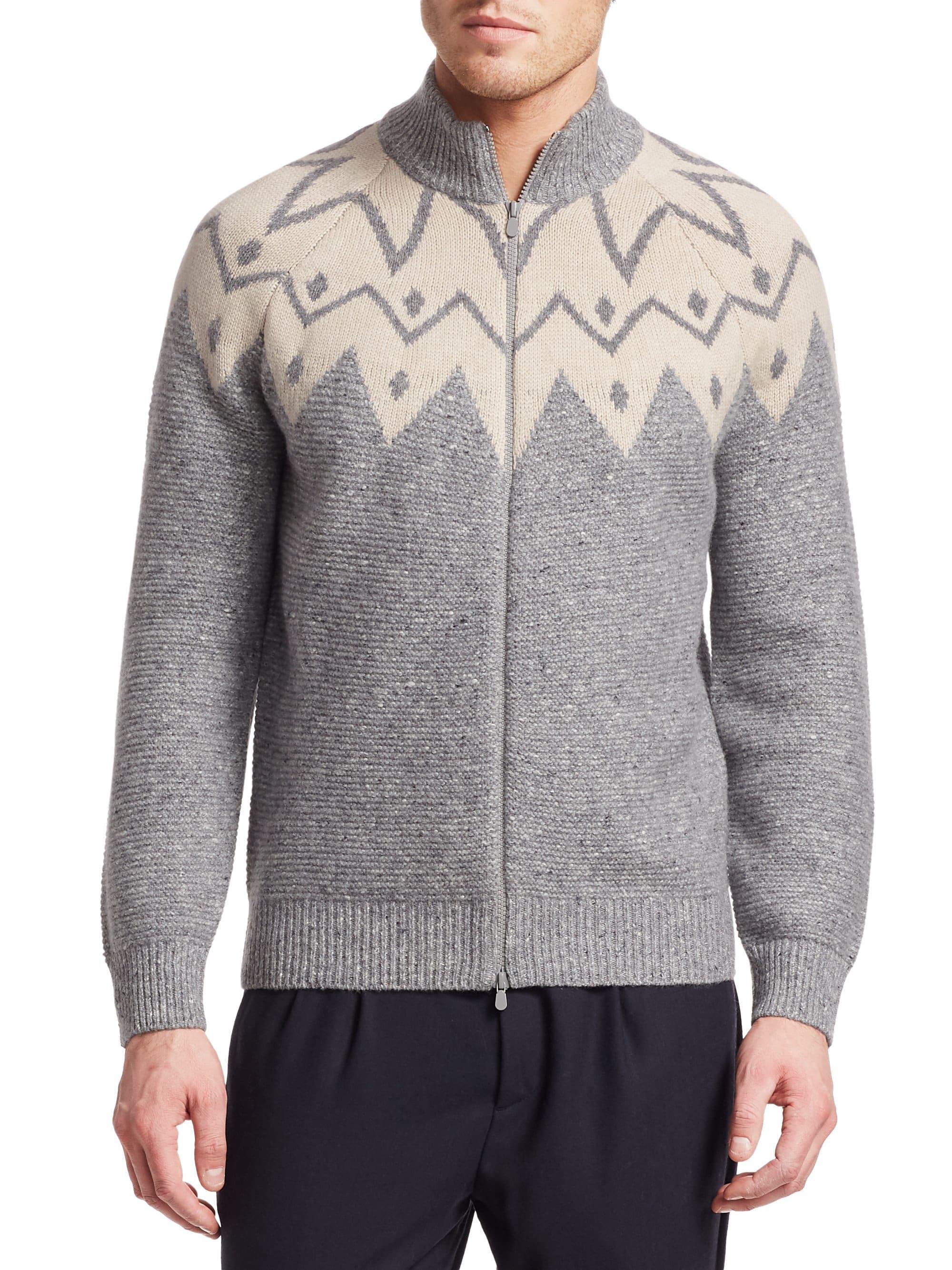 3fcc5d9a8f Lyst - Brunello Cucinelli Jacquard Full-zip Cashmere Sweater in Gray ...