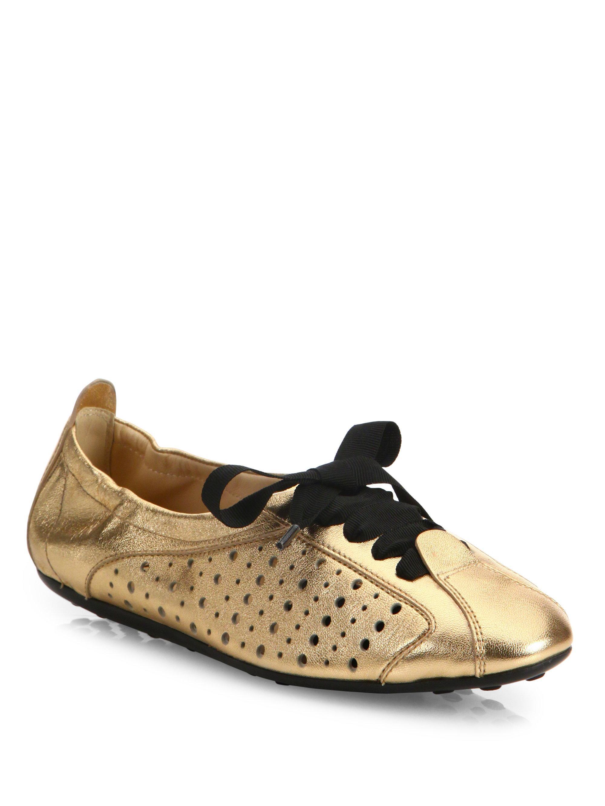 Tod's Metallic Leather Ballet Sneakers 2sa5elYPtJ