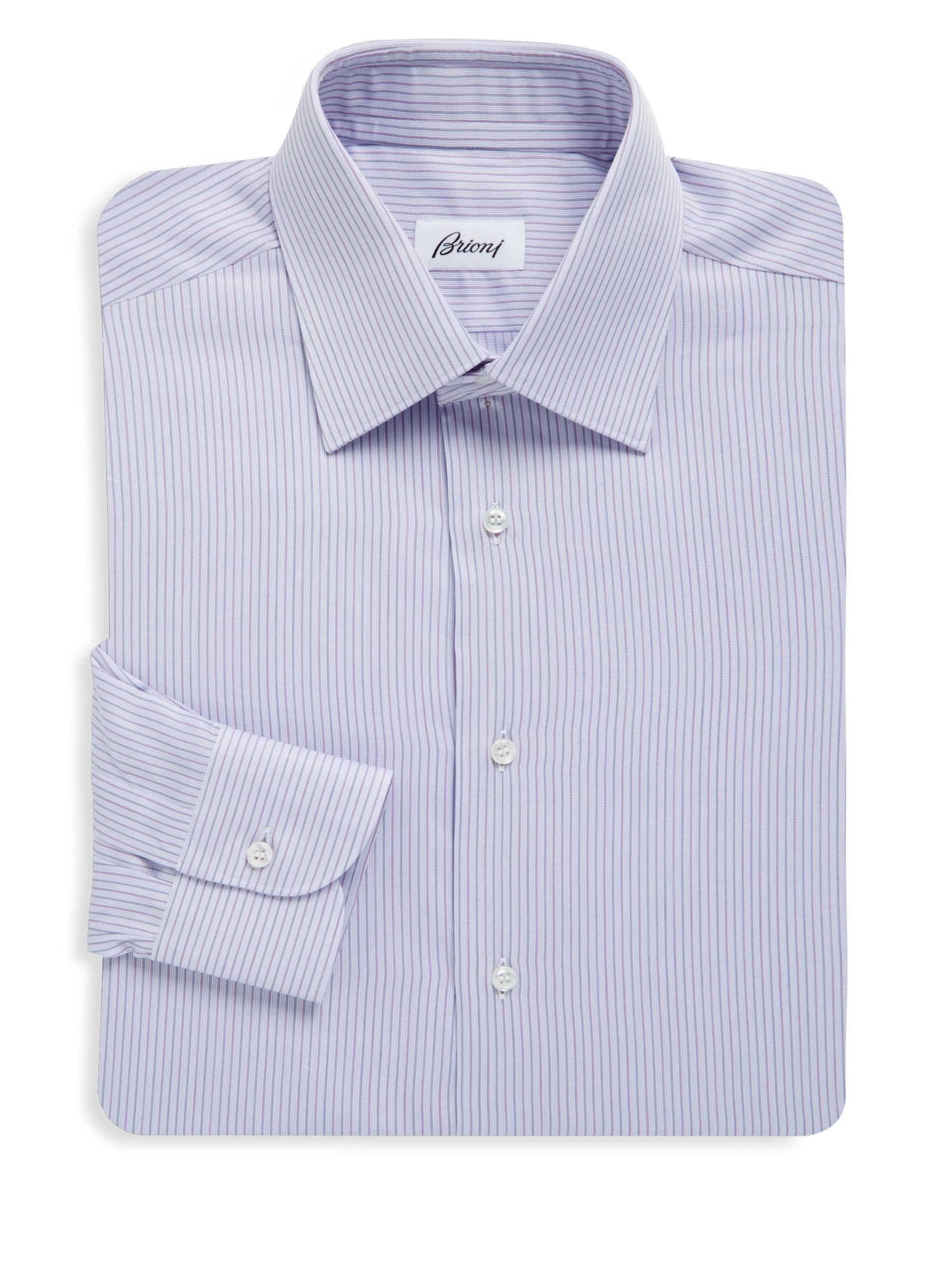 Lyst brioni stripe regular fit dress shirt in purple for men for Regular fit dress shirt