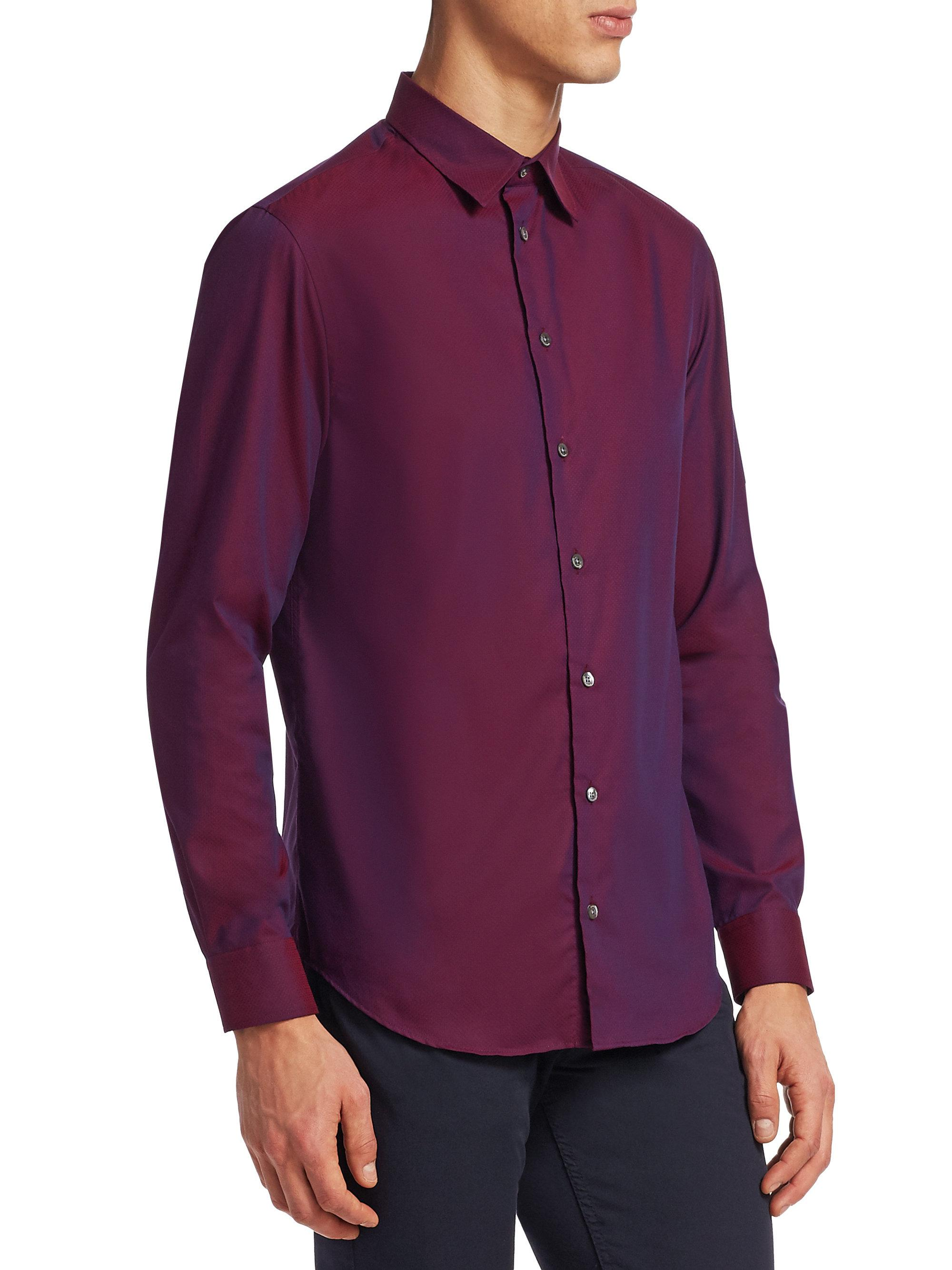 Lyst emporio armani classic cotton button down shirt in for Preppy button down shirts