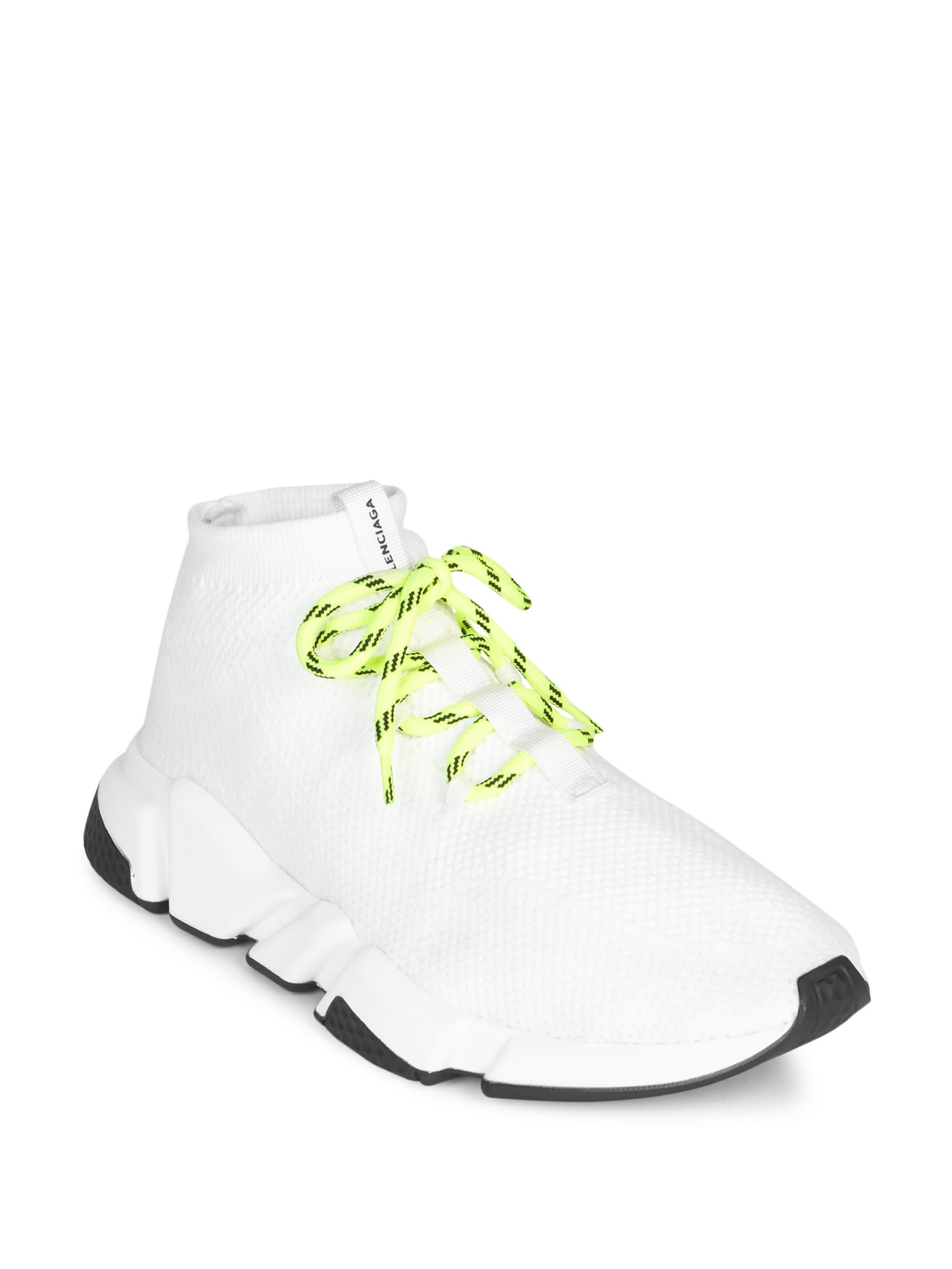 958dfbff21c8 Balenciaga Men s Lace-up Knit Sock Sneakers - White - Size 40 (7) in ...
