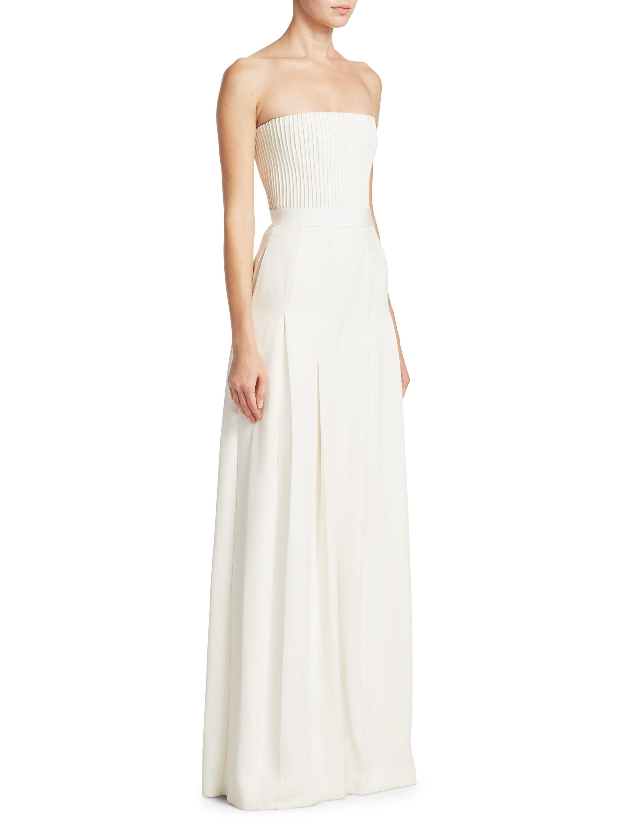 39f0697fe69 Lyst - Brandon Maxwell Strapless Ribbed Silk Jumpsuit in White