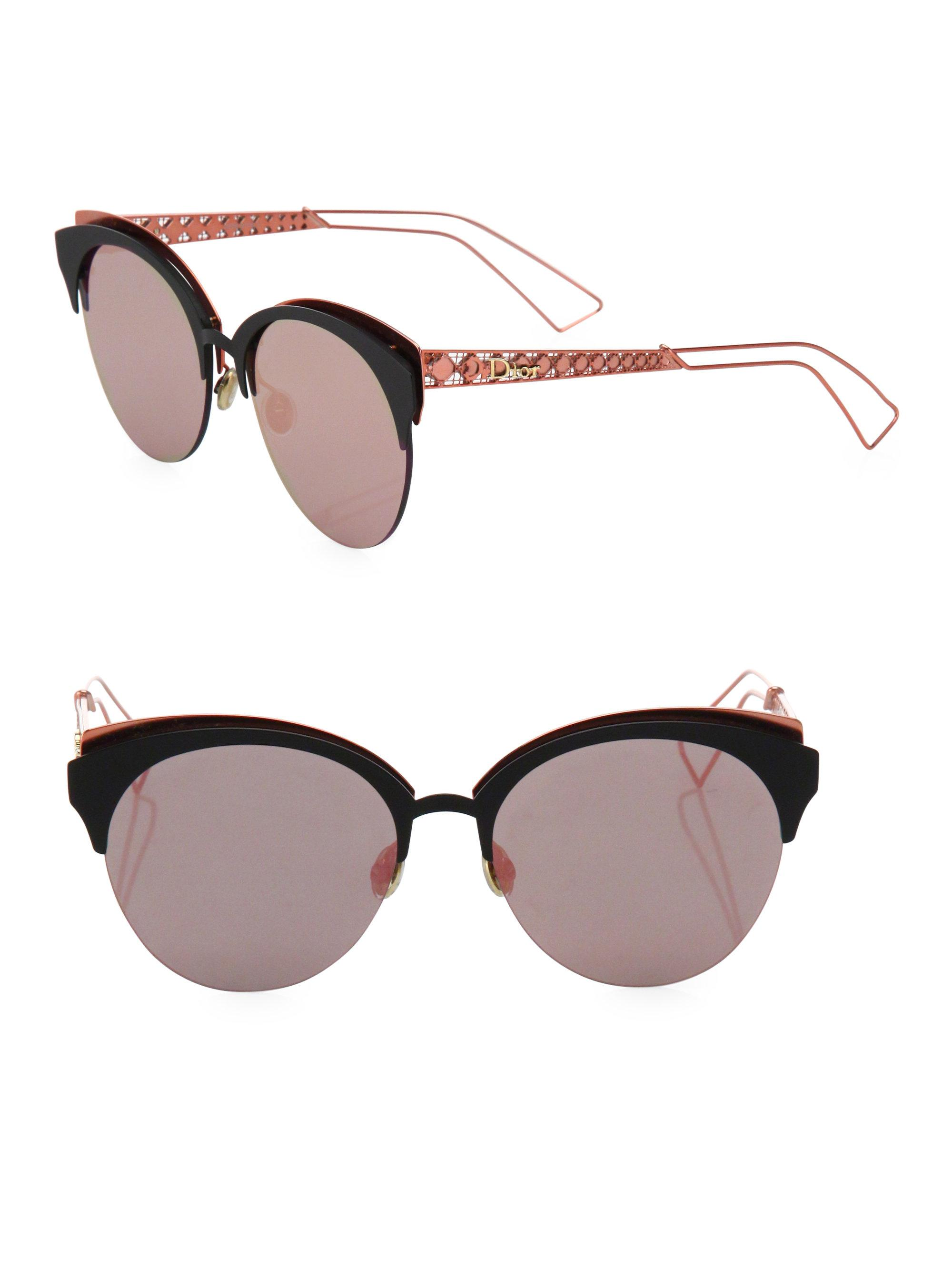 754c7a9460b56 Lyst - Dior Ama 55mm Rounded Clubmaster Sunglasses in Pink