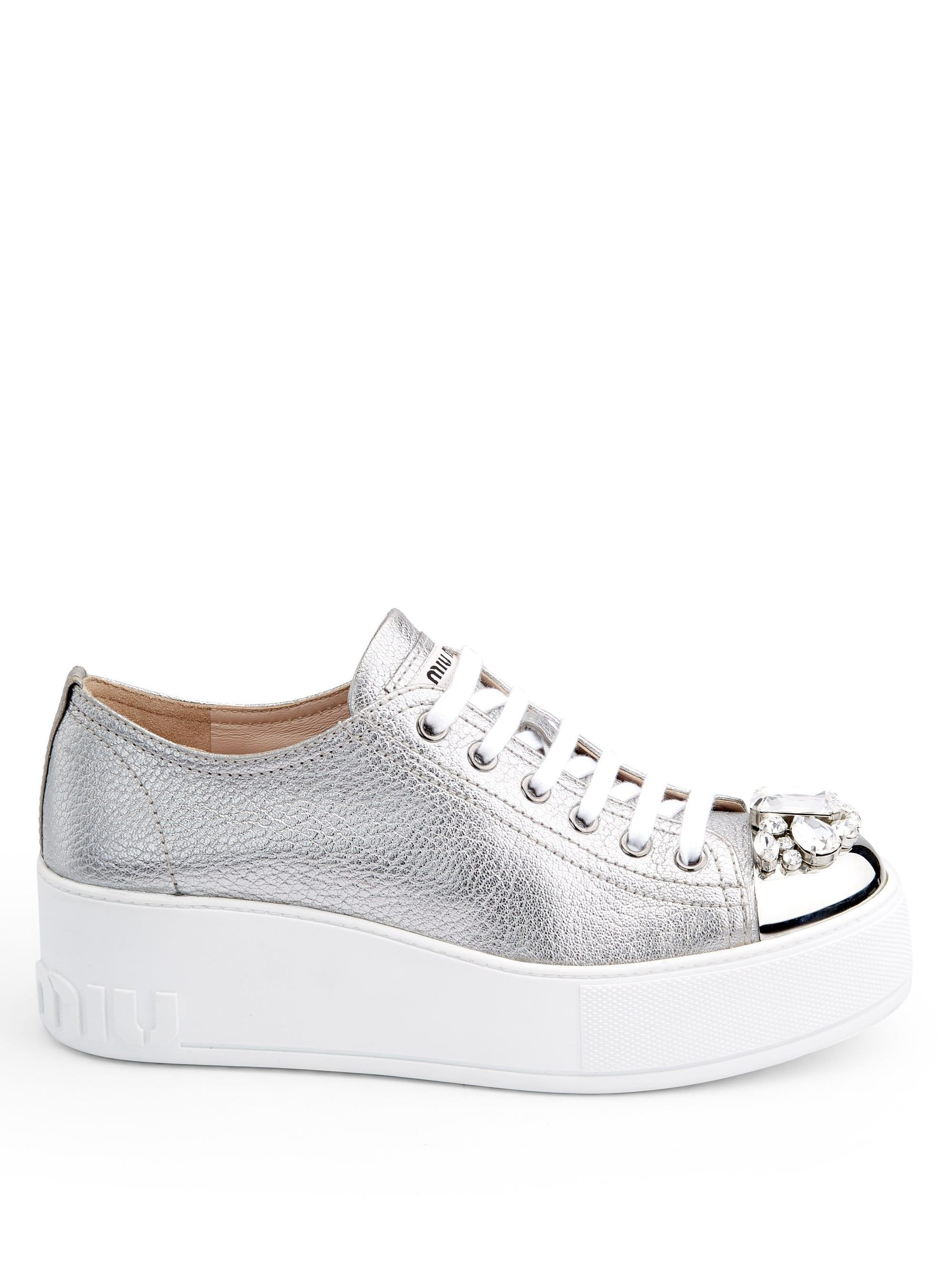 afffceddfb5 Miu Miu - Multicolor Embellished Leather Cap Toe Platform Wedge Sneakers -  Lyst. View fullscreen