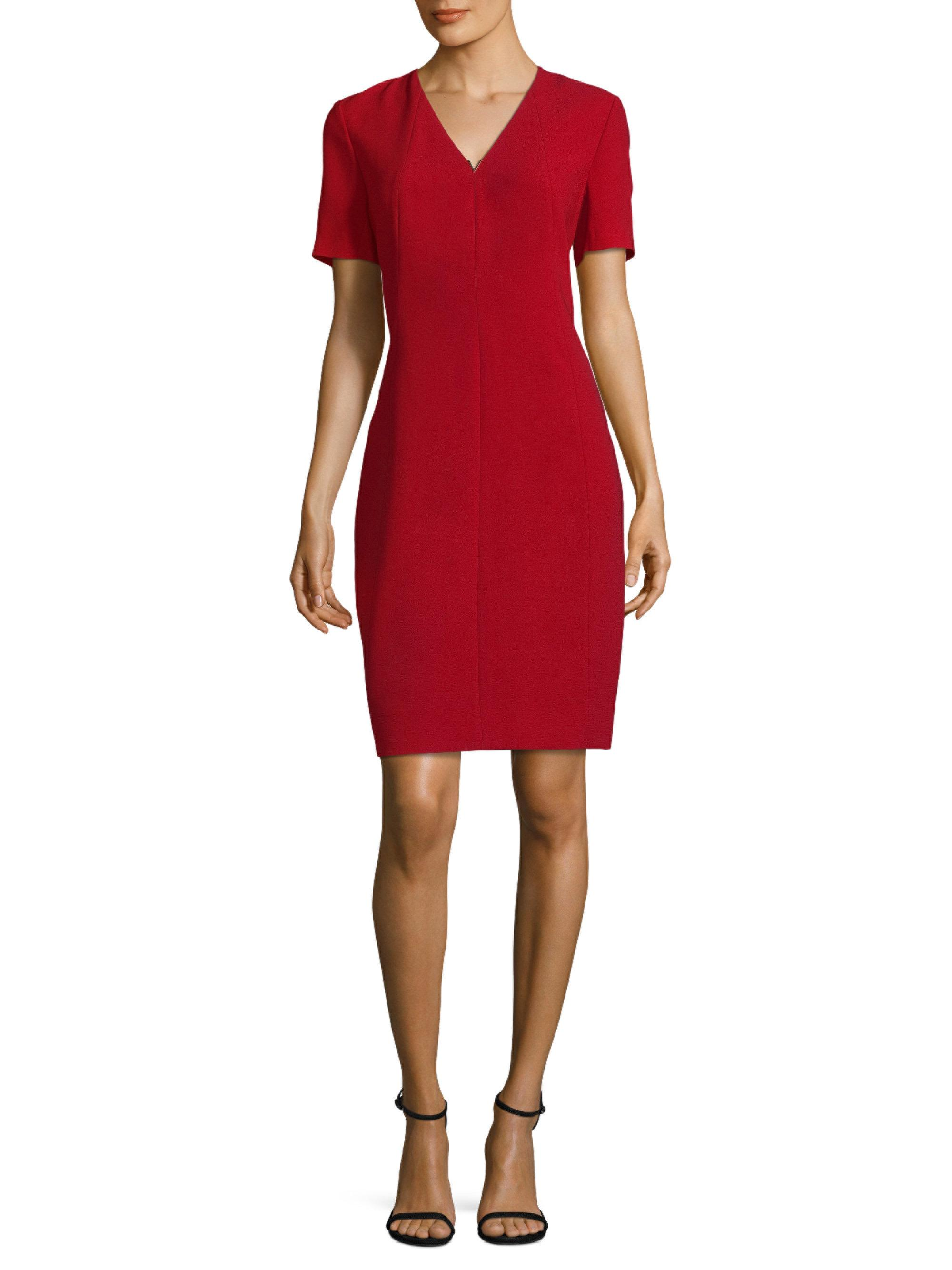 Lyst Elie Tahari Roanna Dress Satin Sheath Dress In Red