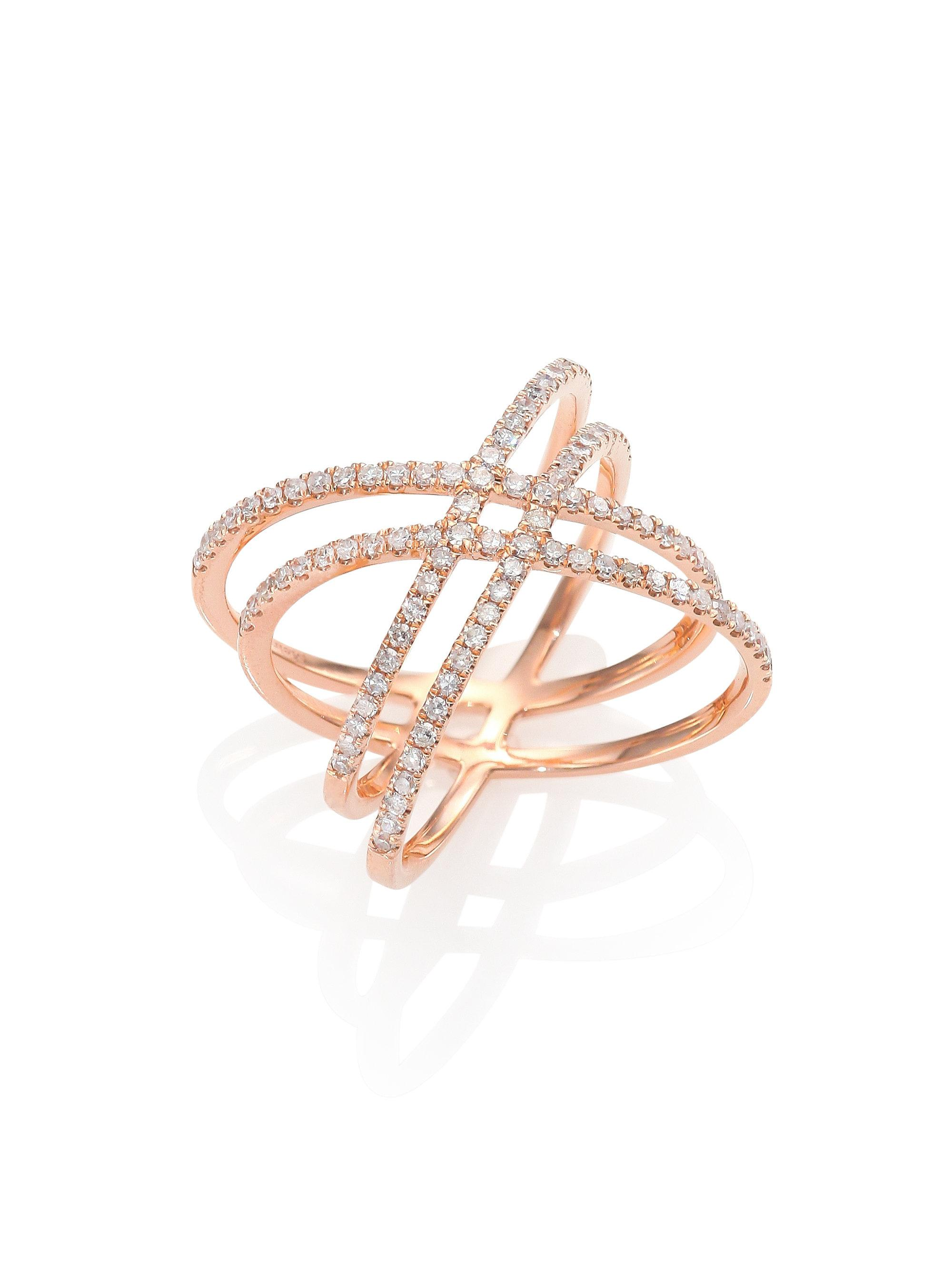 T W Chagne And White Diamond Crisscross Ring In 14kt Rose Gold