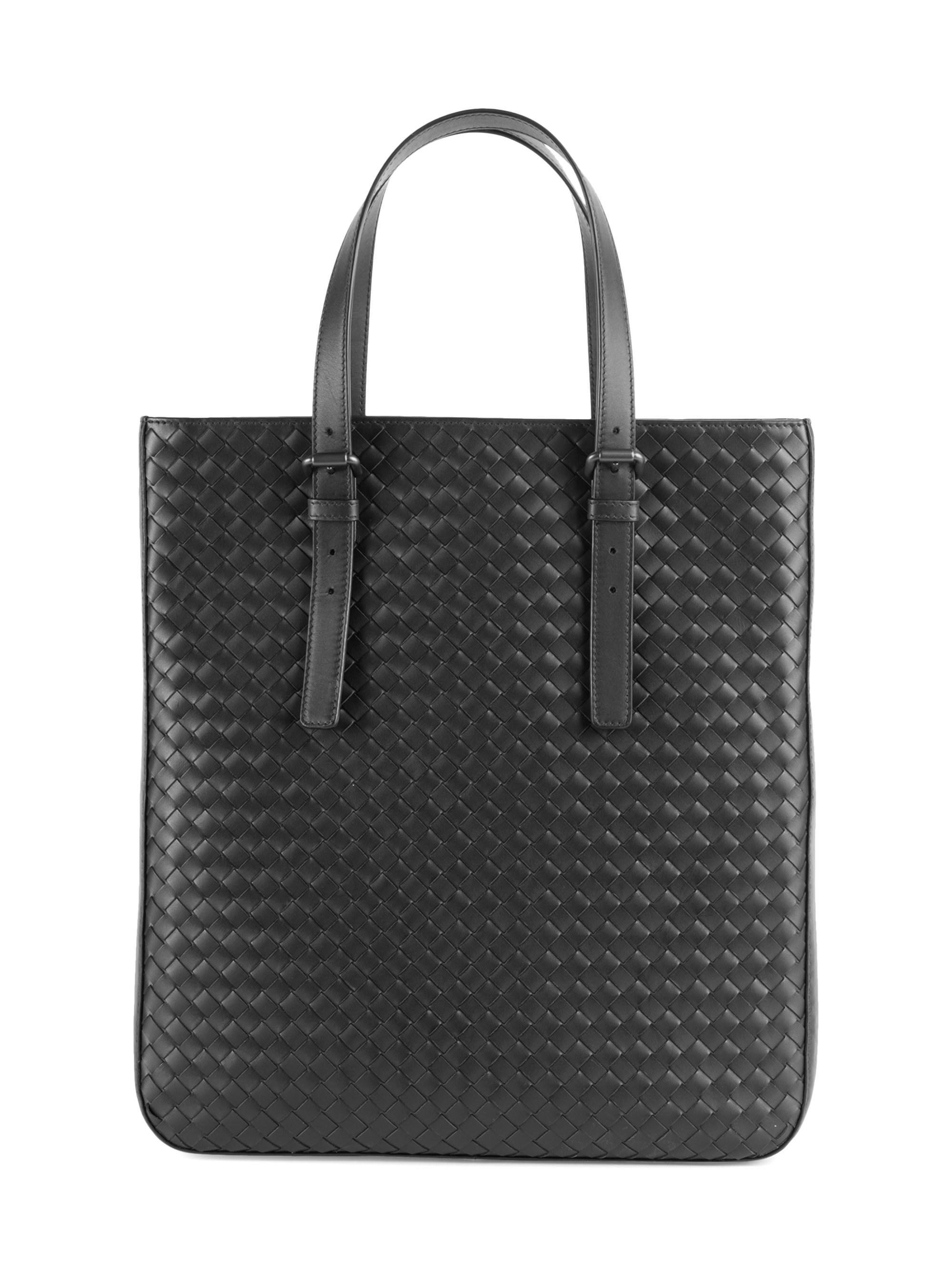 3479077f12e4 Lyst - Bottega Veneta Men s Woven Leather Slim Tote - Black in Black ...