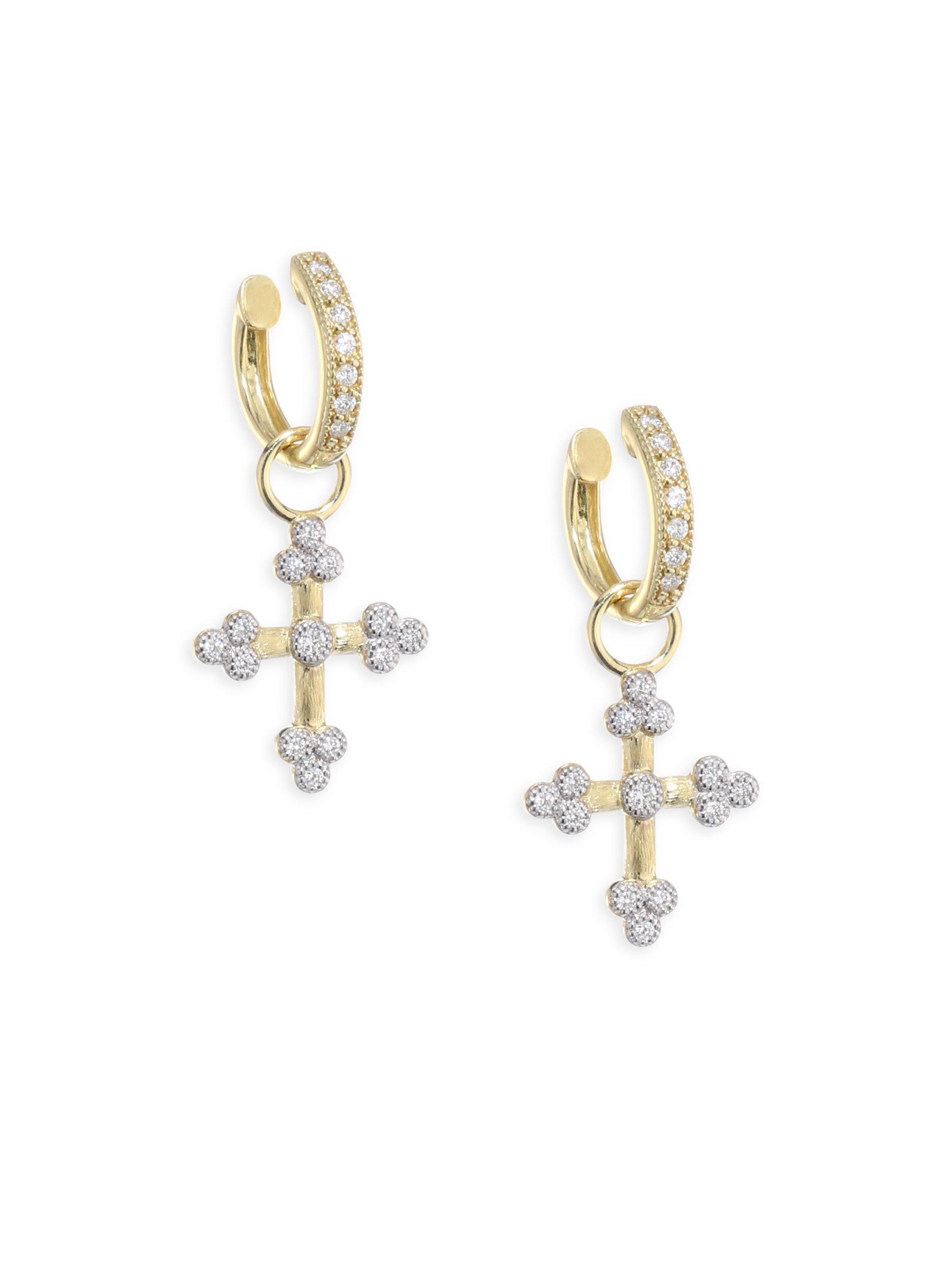 Jude Frances 18k Lisse Double Drop Diamond Kite Earring Charms XqWTY