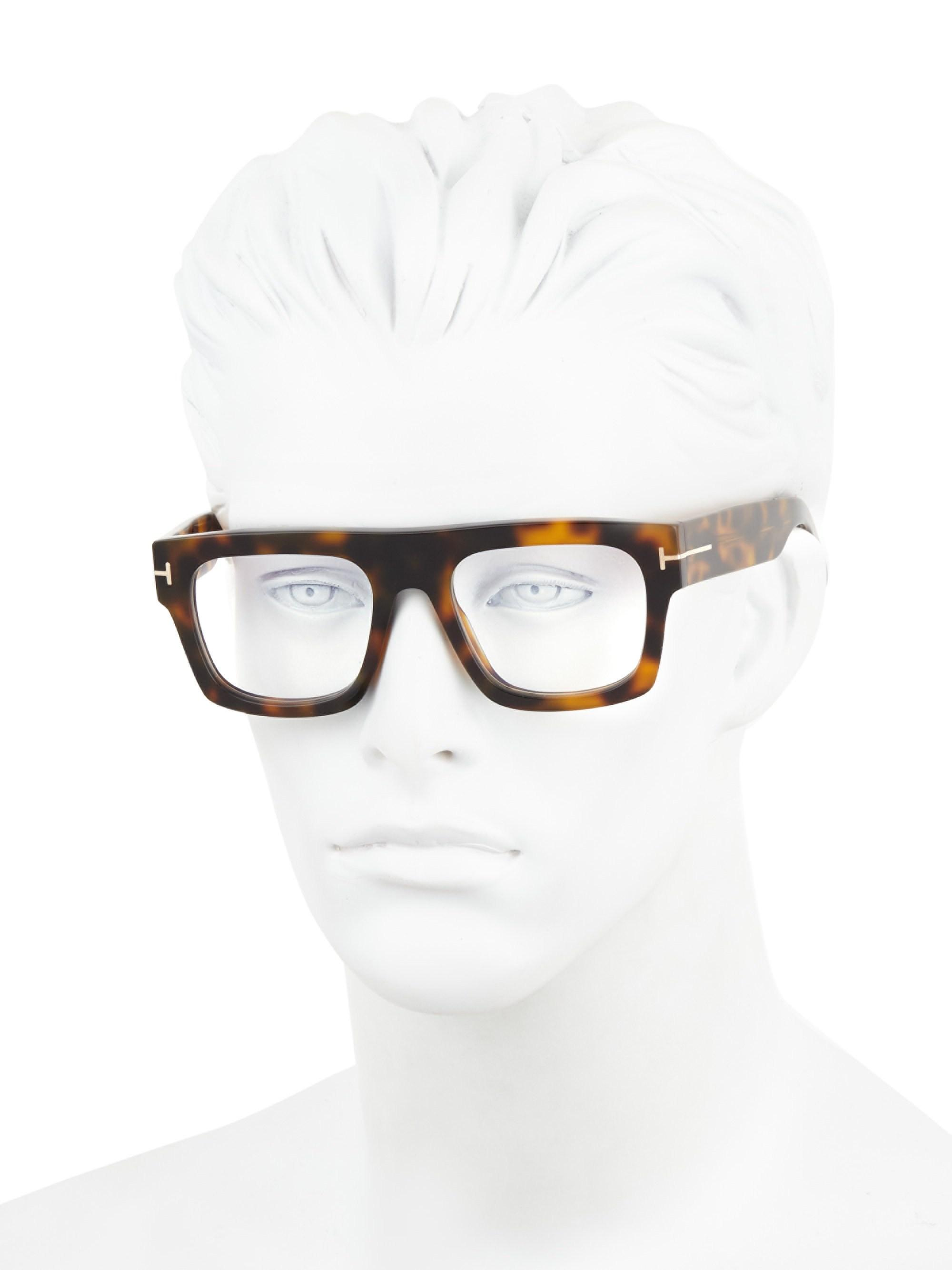 54285cd648 Tom Ford Blue Block 53mm Square Optical Glasses in Brown for Men - Lyst
