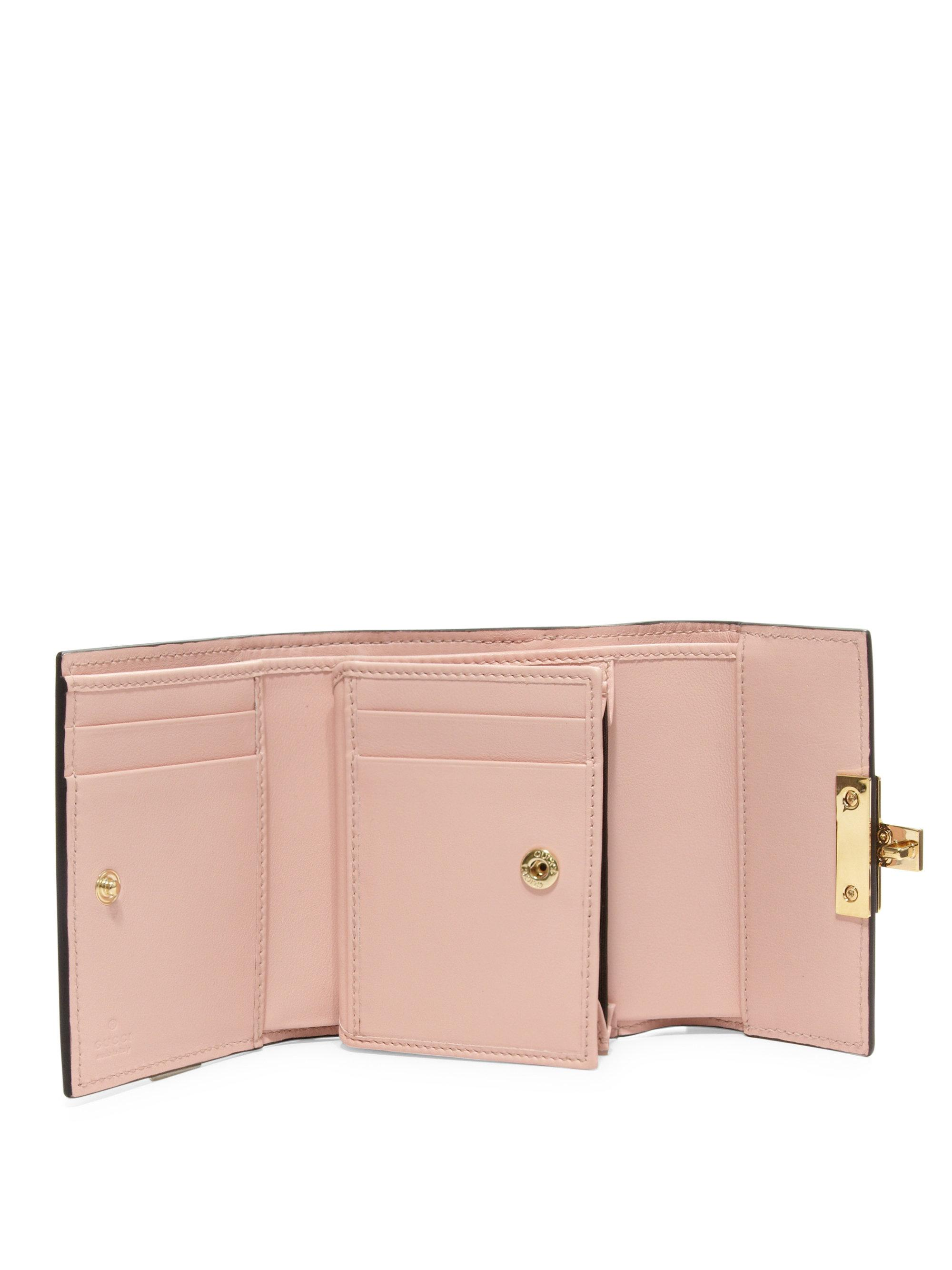 57d2d1ab4cc Lyst - Gucci Padlock Gg Supreme Leather French Flap Wallet in Pink