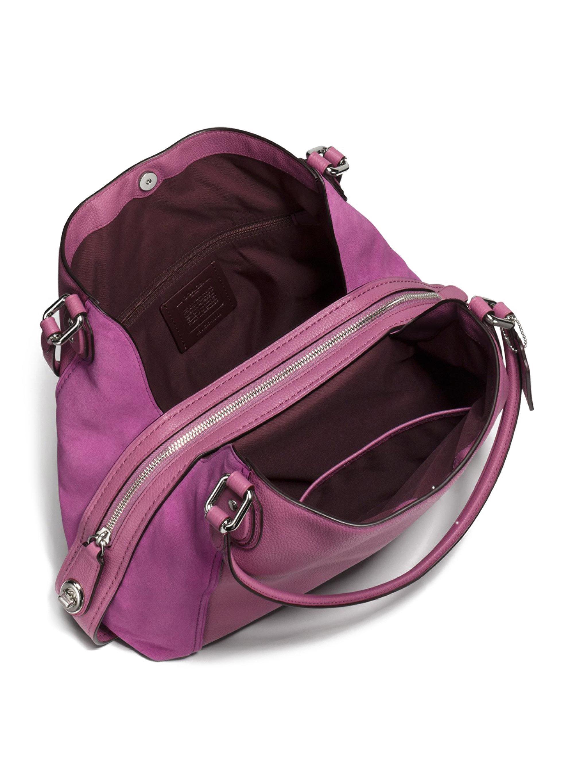 f4cab7f3fe ... store lyst coach edie leather suede shoulder bag in purple 4f3eb 94439